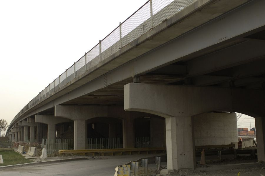 The bridge carrying Mannheim Road over a railroad yard near Bensenville is just one of about 20 Illinois Department of Transportation bridge projects currently being undertaken in the six-county Chicago metropolitan area.