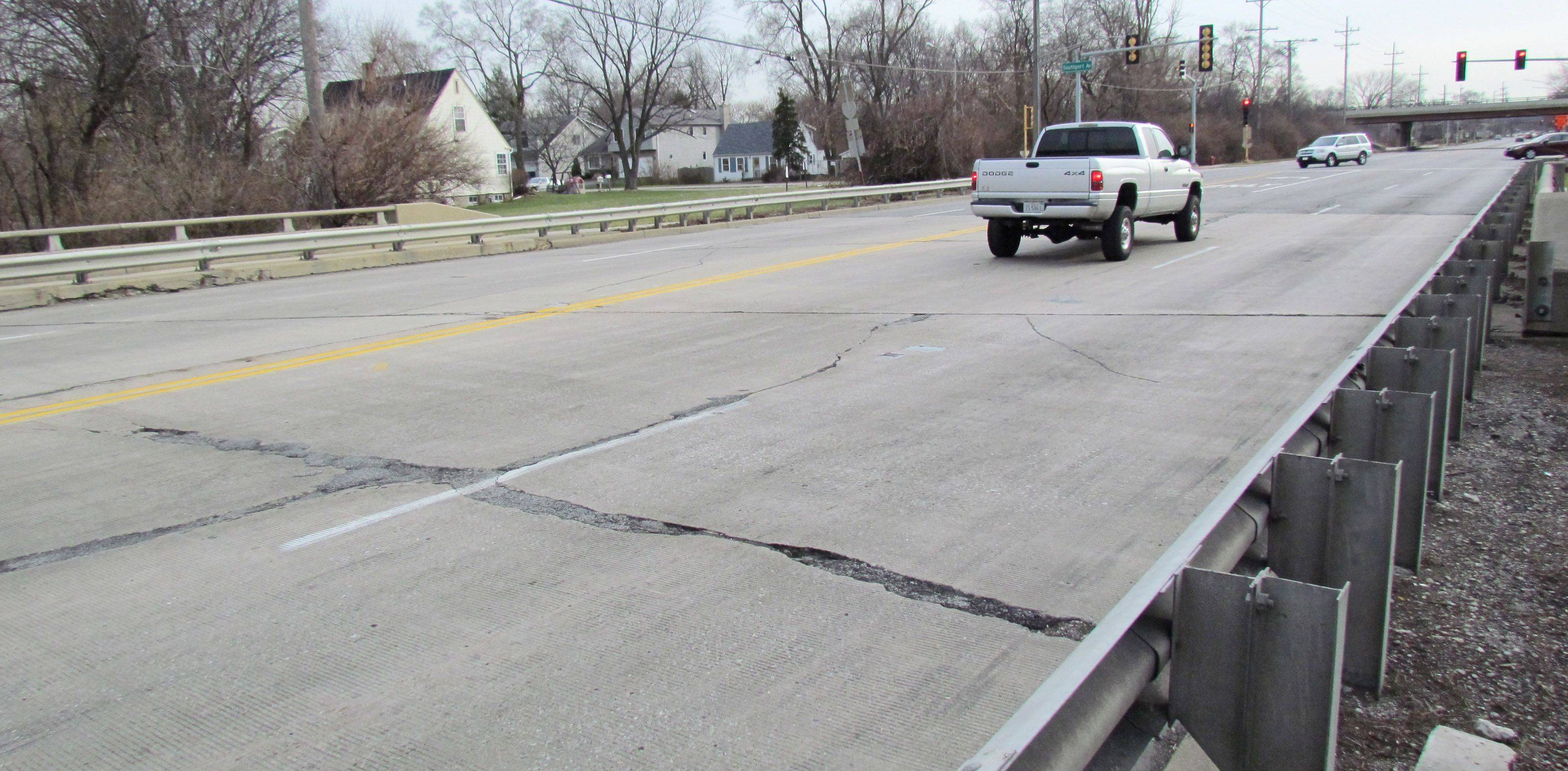 The Route 53 bridge over St. Joseph Creek in Lisle is one of 293 rated structurally deficient in the six-county Chicago and suburban region. Inspections have shown the bridge is in serious condition.