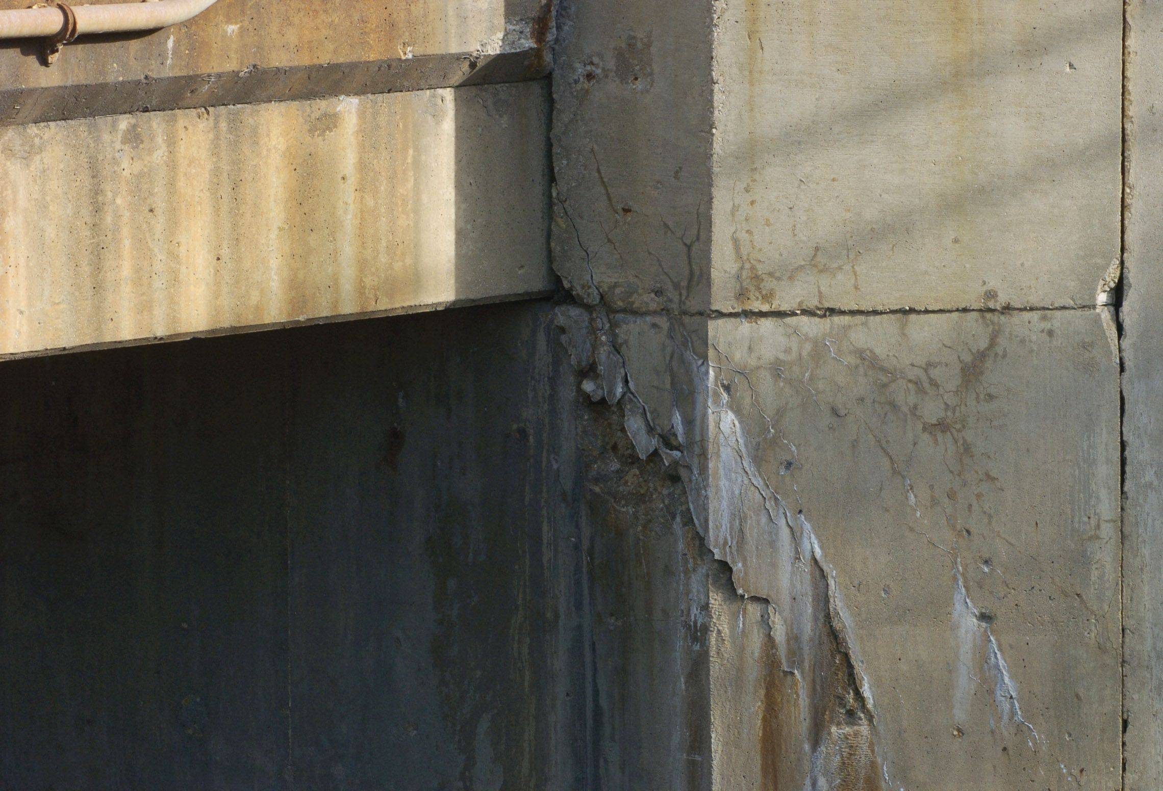Damage to vertical support structures of a bridge, like the cracks seen on the concrete supports of the bridge carrying Algonquin Road over Salt Creek in Rolling Meadows, can be more expensive than other deterioration.