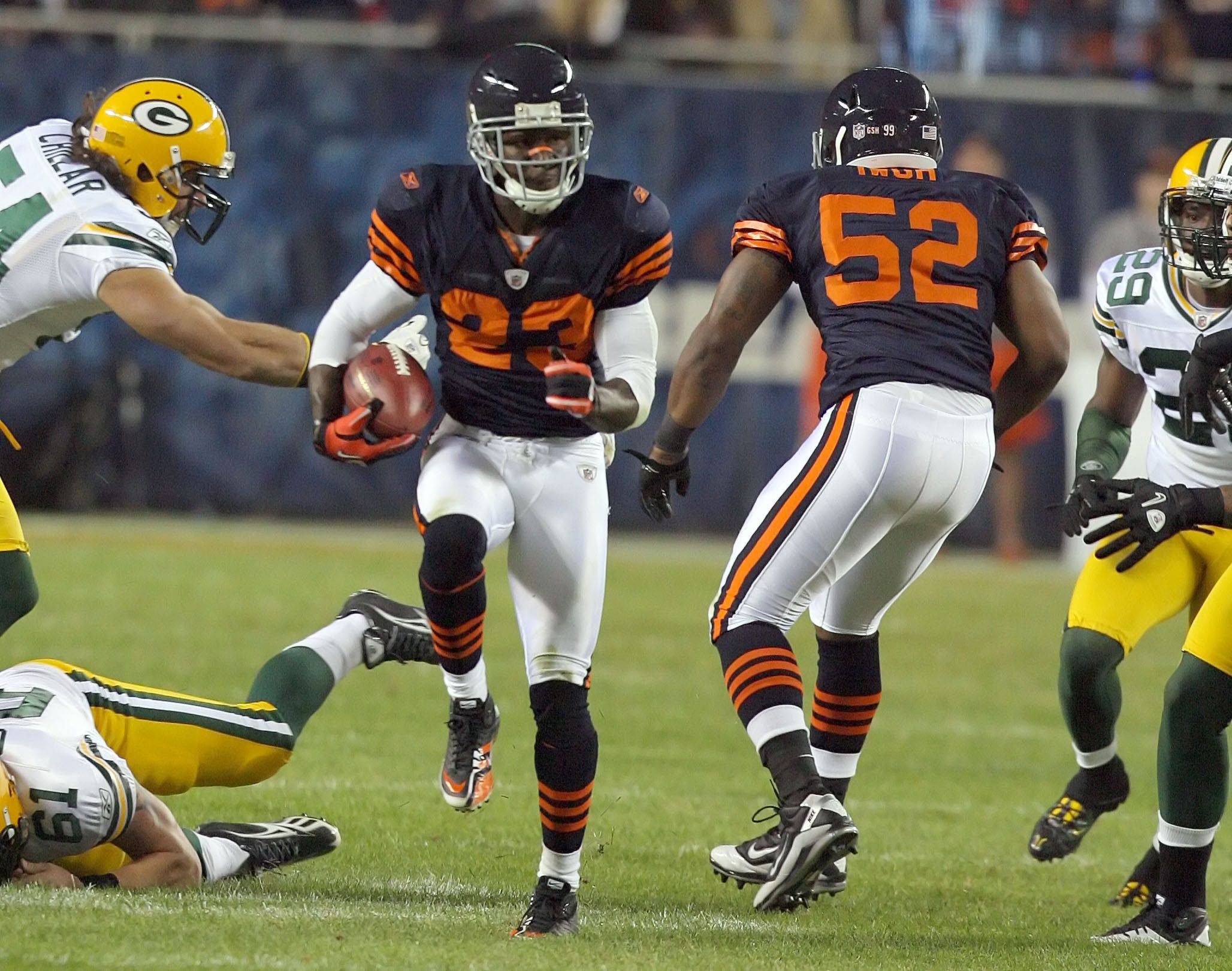 No. 12: Devin Hester finds an opening as he returns a punt 62 yards for a touchdown during the Bears win over the Packers on Sept. 27, 2010.