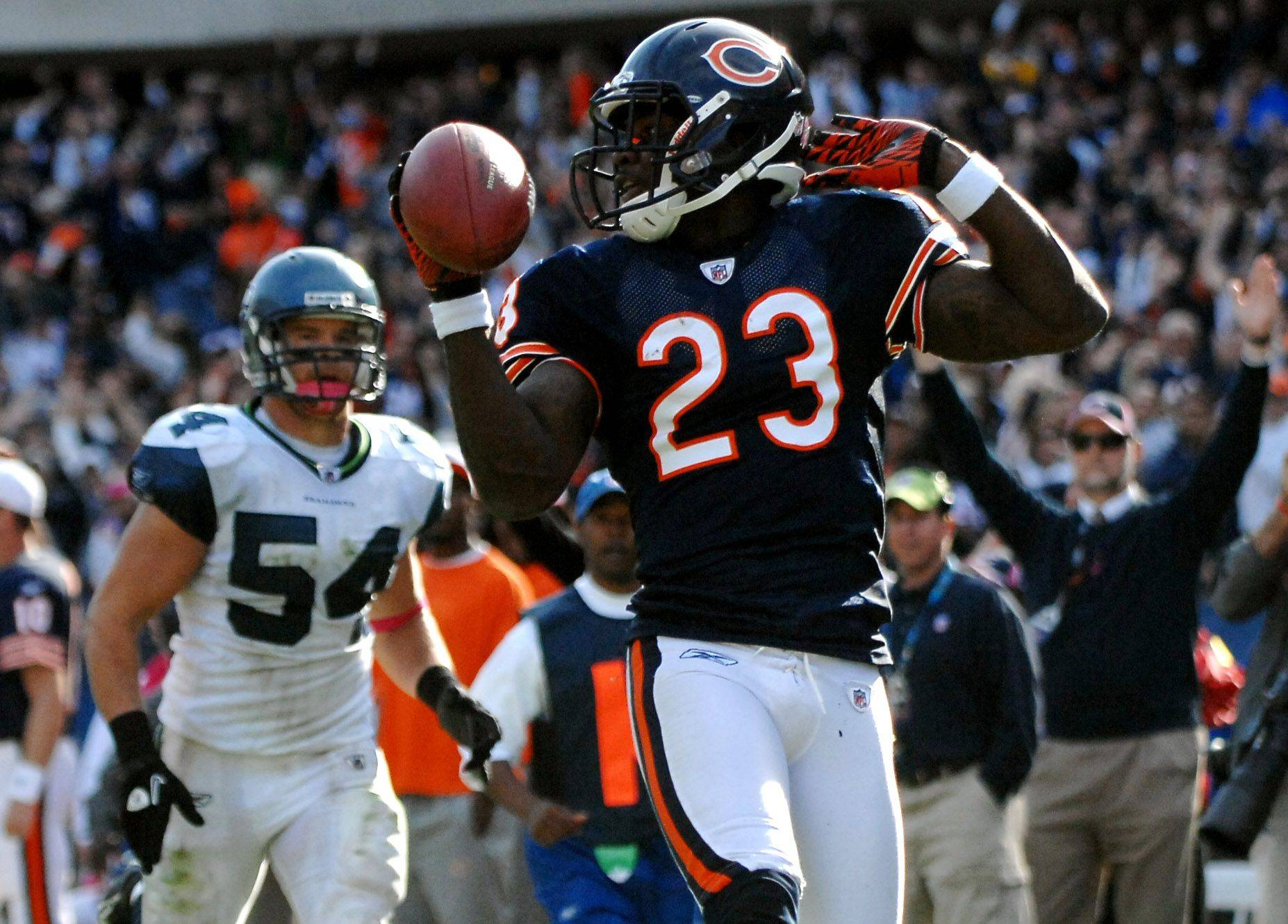 No. 13: Devin Hester ties the all-time record for punt returns for touchdowns with this 89-yard score in the fourth quarter against Seattle on Oct. 17, 2010