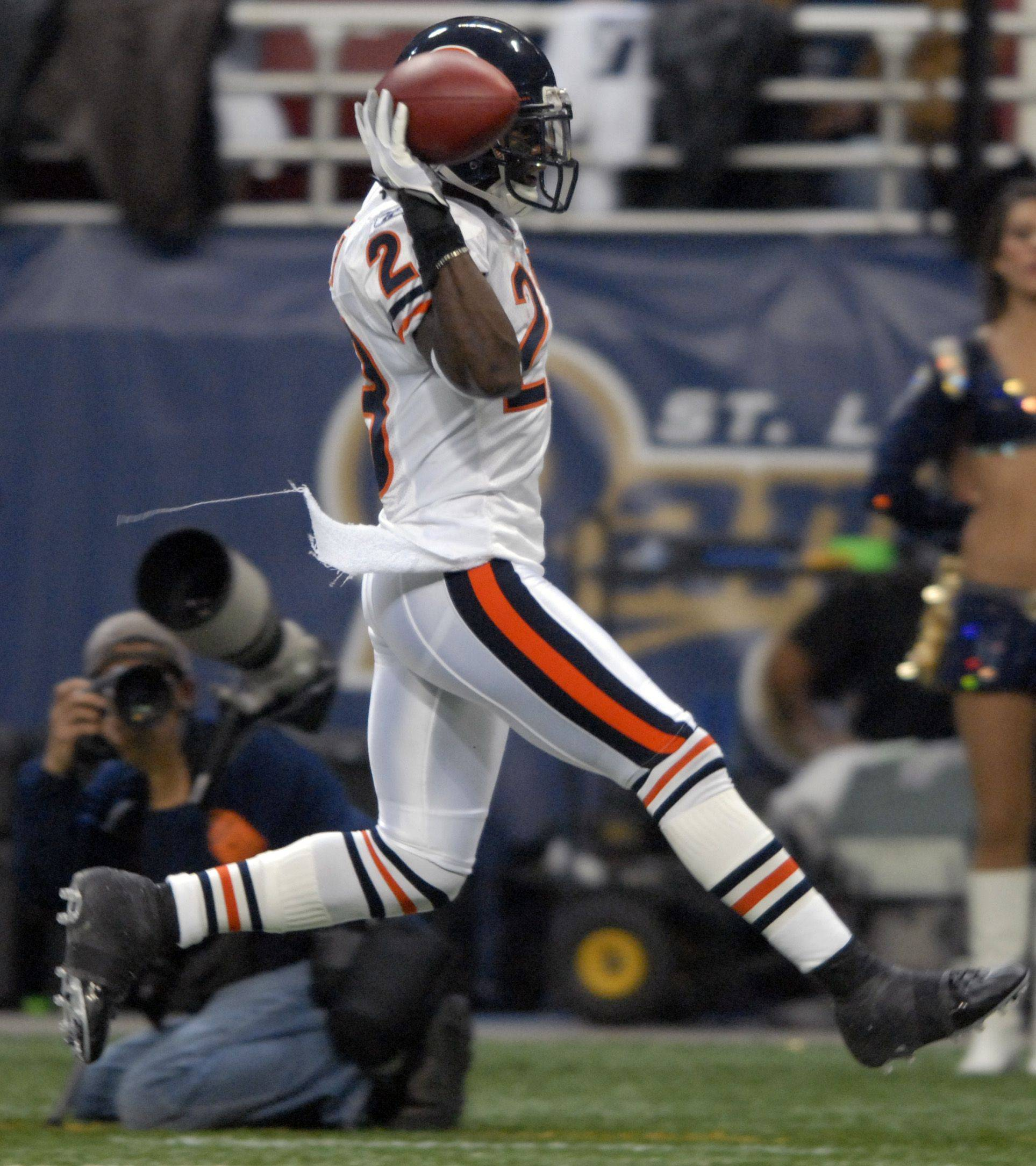 No. 4: Devin Hester celebrates his 94-yard kick off return for a touchdown during the game against the St. Louis Rams on December 11, 2006.