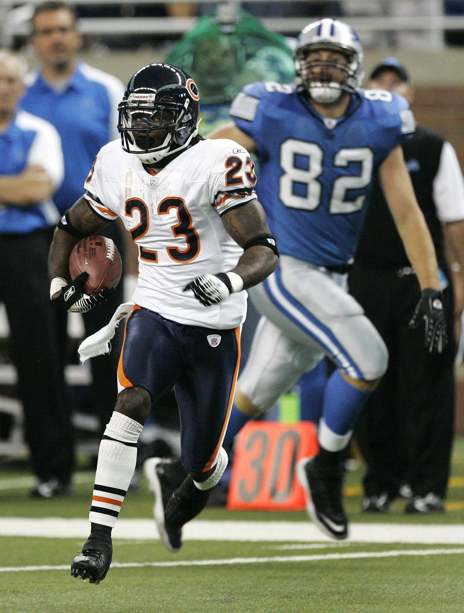 No. 8: Devin Hester returns a kickoff for a 97-yard touchdown against the Detroit Lions in the fourth quarter against the Lions on Sept. 30, 2007.