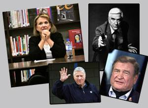 2010 saw the passing of several familiar faces, including Elizabeth Edwards, far left, actor Leslie Nielsen, top right, George Steinbrenner, bottom left, and Dan Rostenkowski.