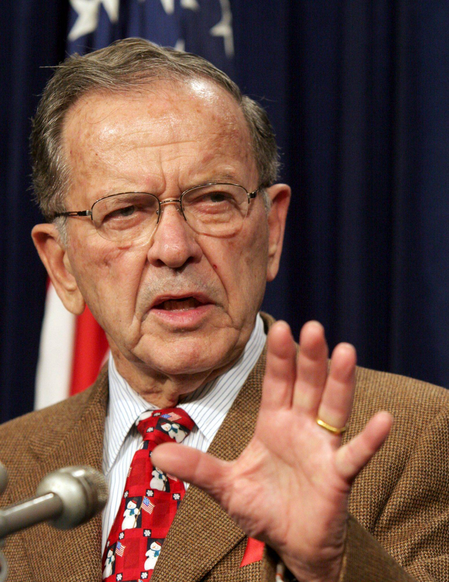 Sen. Ted Stevens, Alaska, speaks during a news conference in Washington, D.C. Stevens was killed Monday, Aug. 9, 2010 at 86 in a plane crash in a remote part of Alaska while on his way to a fishing trip.