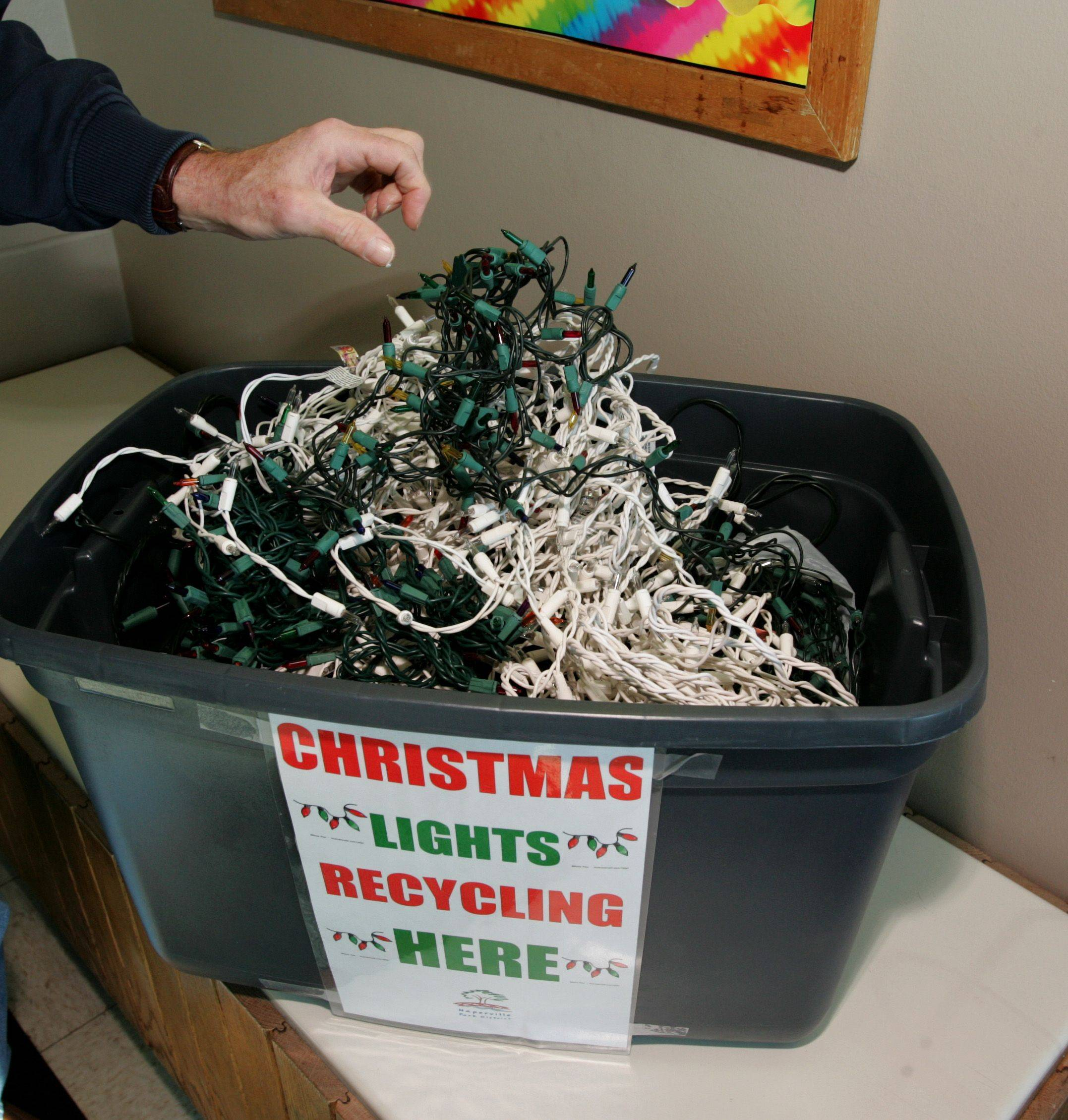 Naperville has various areas around the city that recycle Christmas tree lights, like the one at 421 Martin Ave.