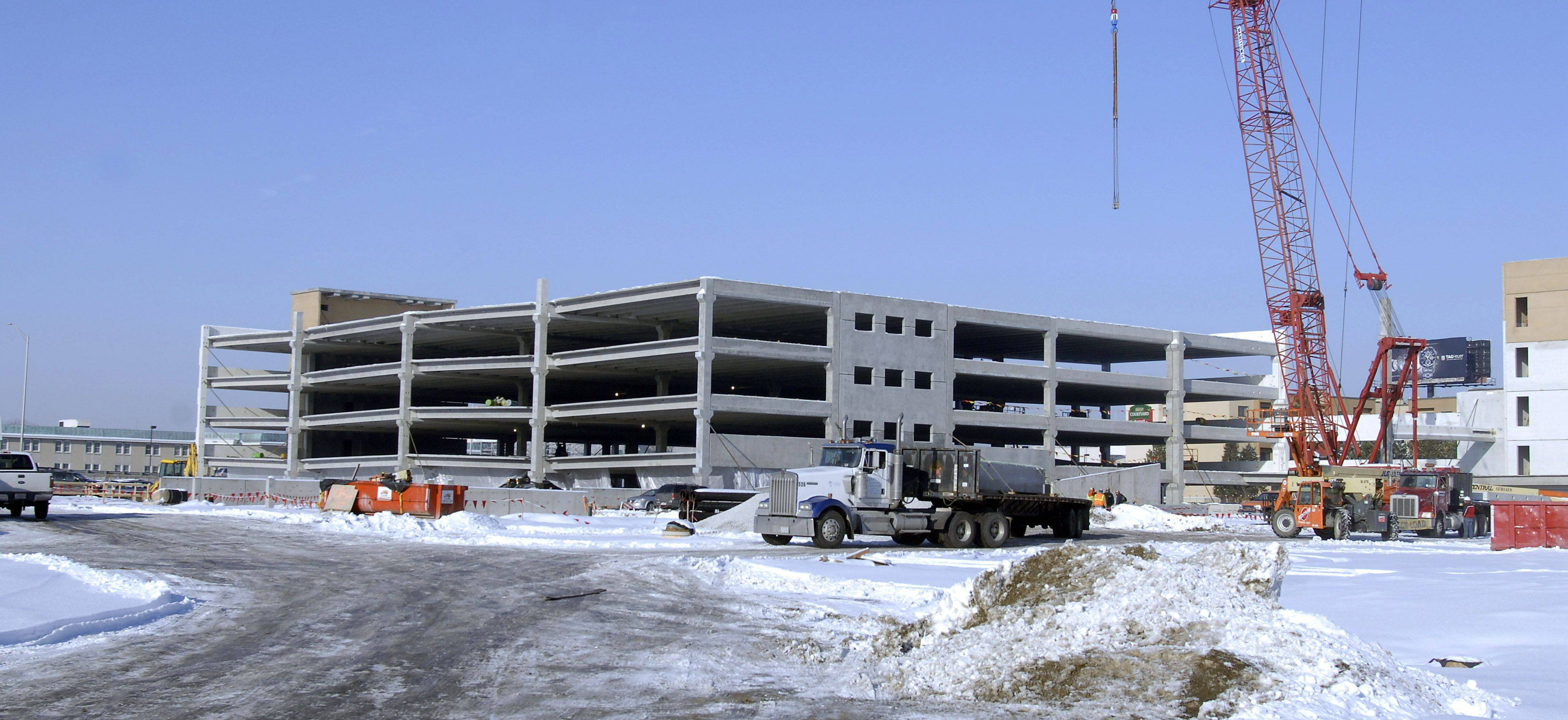 The parking garage under construction across from the Des Plaines casino is nearly complete.