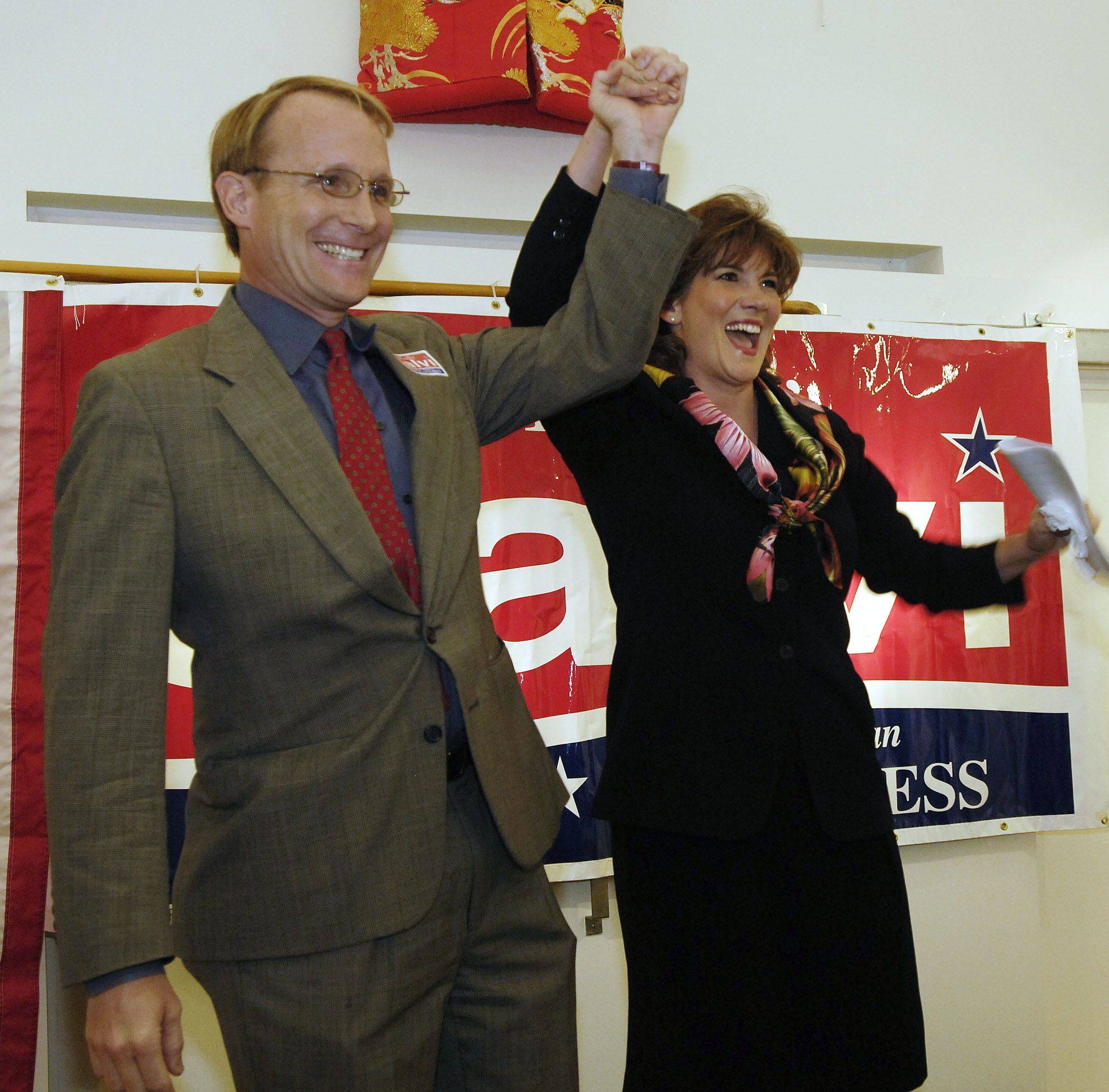 In 2005, Kathy Salvi announces her Republican candidacy for the 8th Congressional District with her husband, former state Rep. Al Salvi, by her side.