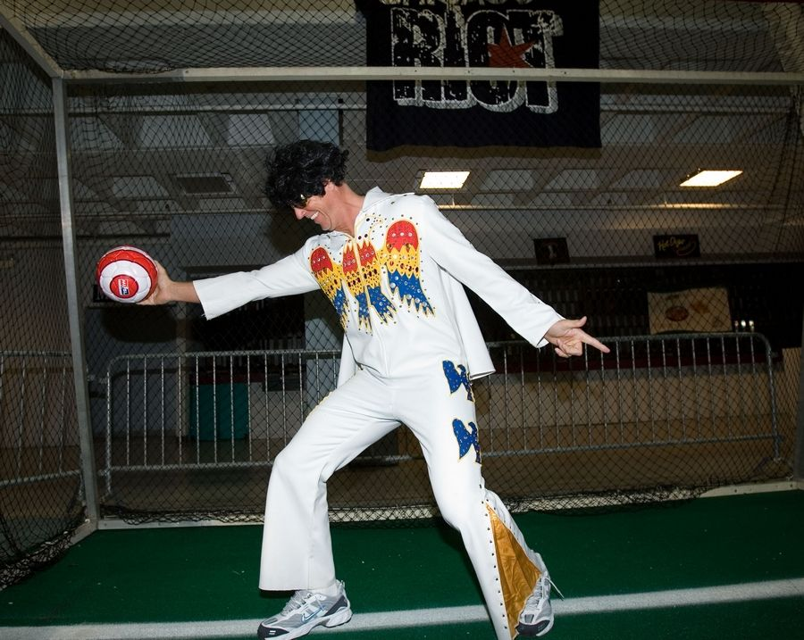 "Jeff Kraft, coach of the Chicago Riot, a new indoor soccer team, previews ""Elvis Night"" attire for Sunday night's game at the Odeum in Villa Park. The event will celebrate Elvis Presley's 76th birthday and also pay tribute to Elvis Costello."