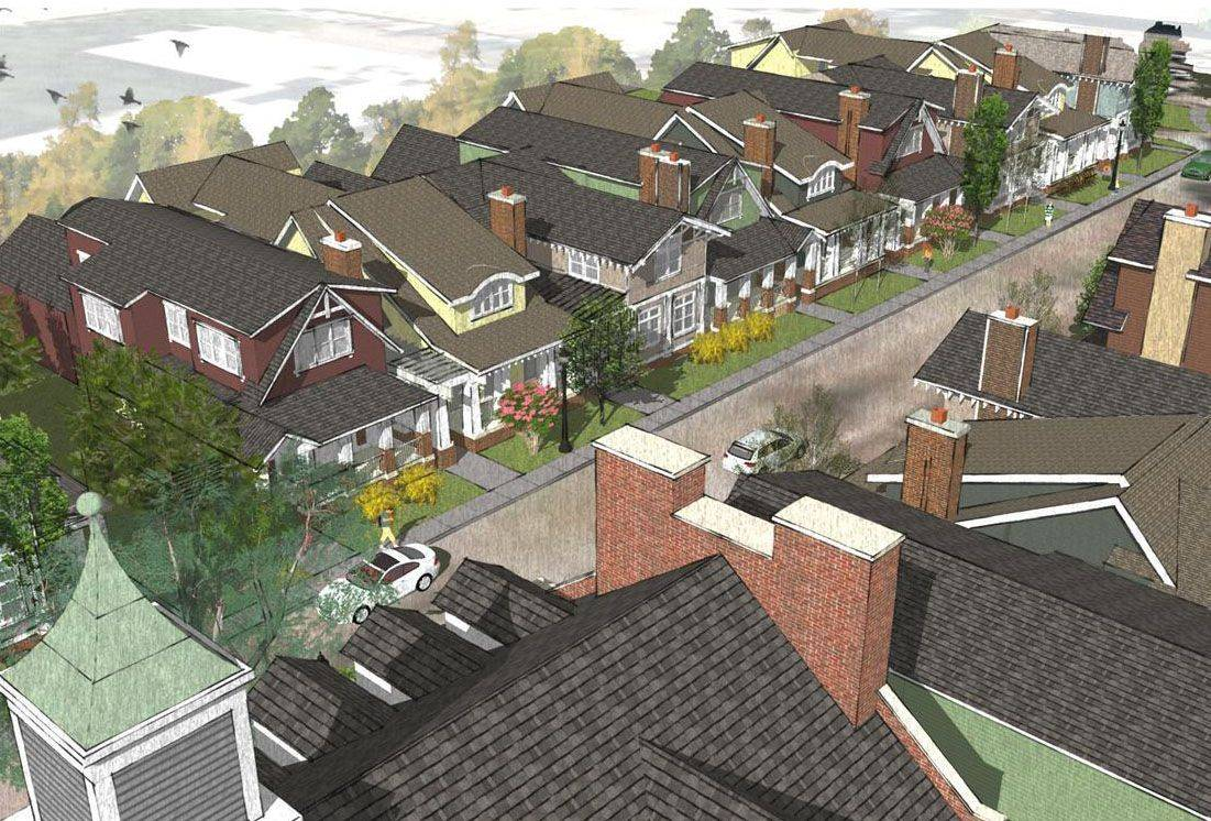 Rendering of SchoolStreet Homes in Libertyville.