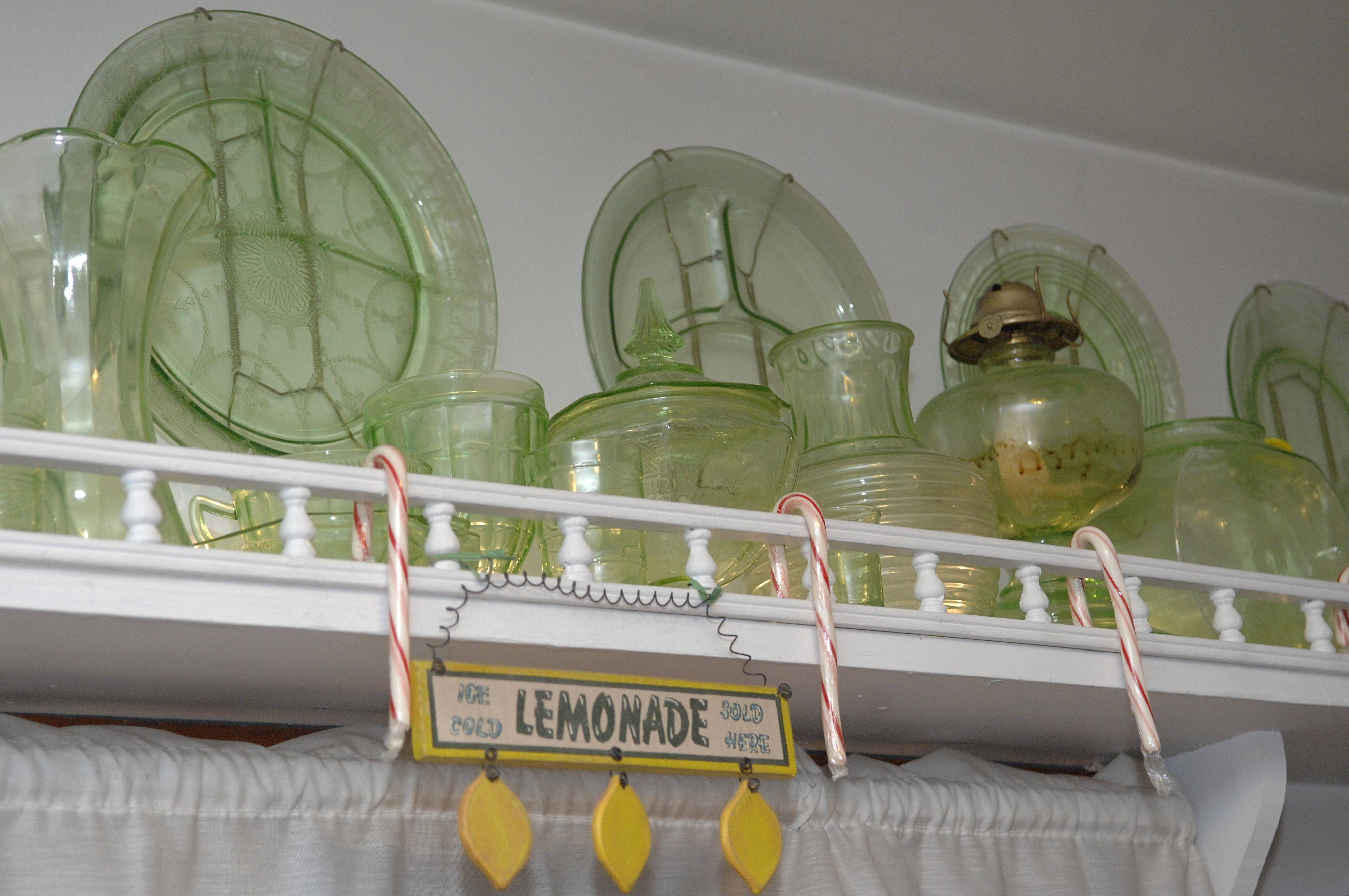 Steve Thoren has been collecting since he was a child, especially green Depression glass and clocks of all sizes. In the kitchen, there are 550 pieces of green Depression glass on display.