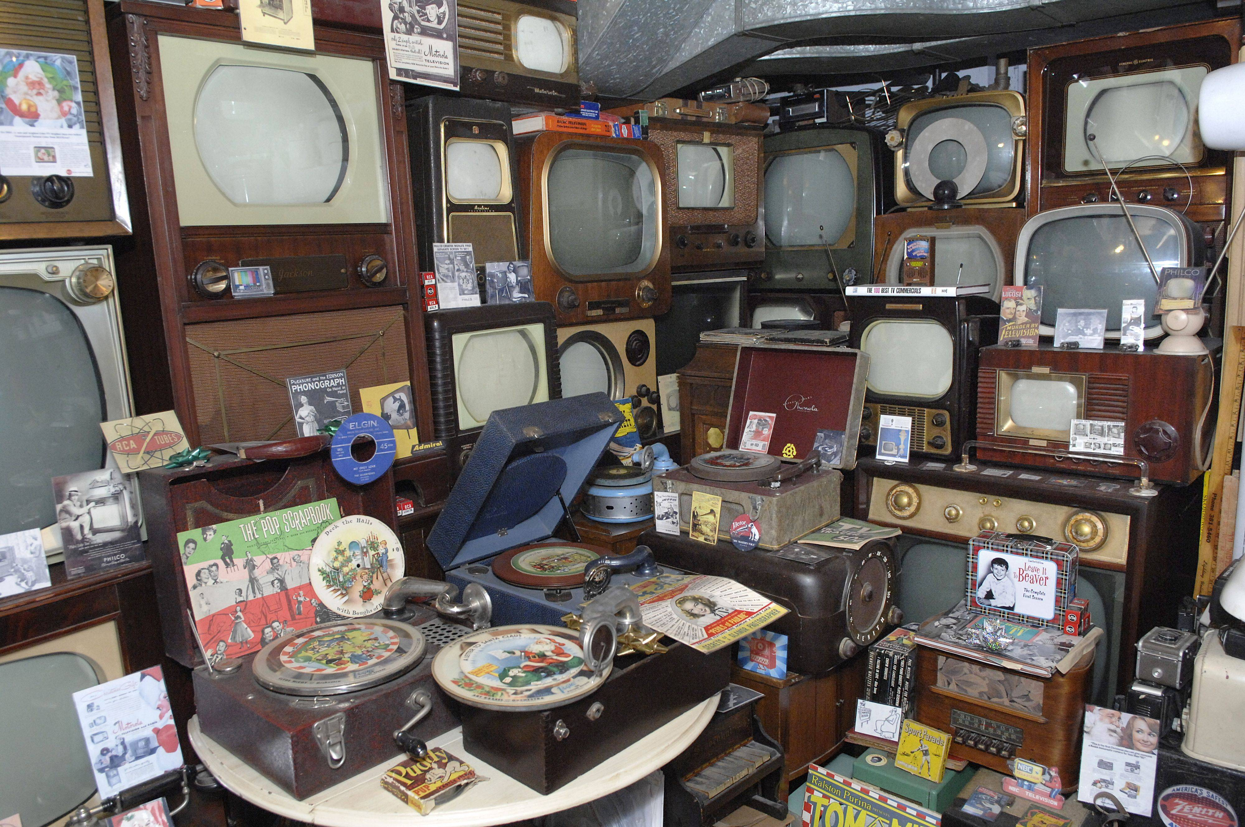 Some of Thoren's TVs, record players and turntables.