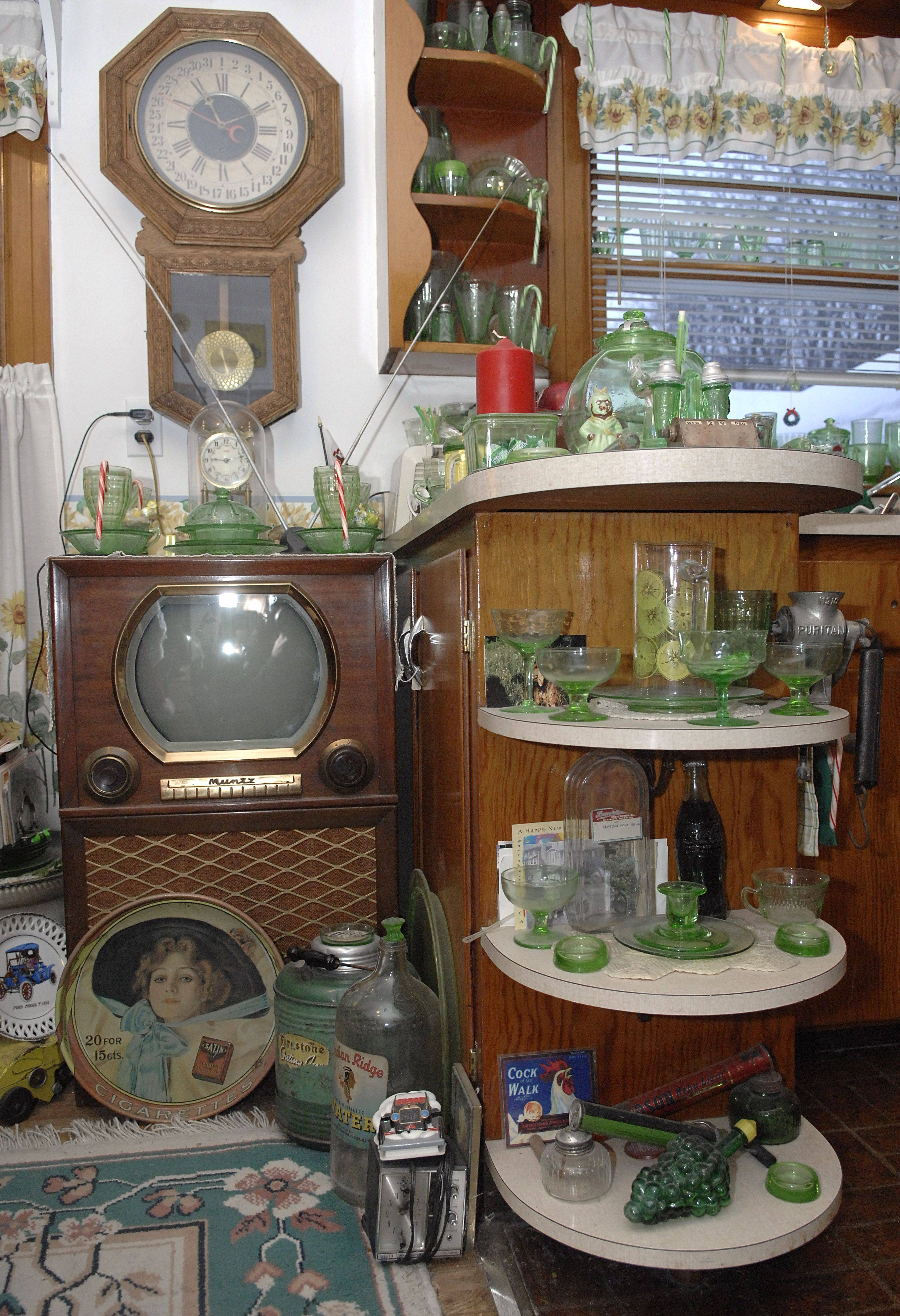 The Elgin home of Thoren is filled with antiques and collectibles. He has been collecting since he was a child, especially green Depression glass and clocks of all sizes.