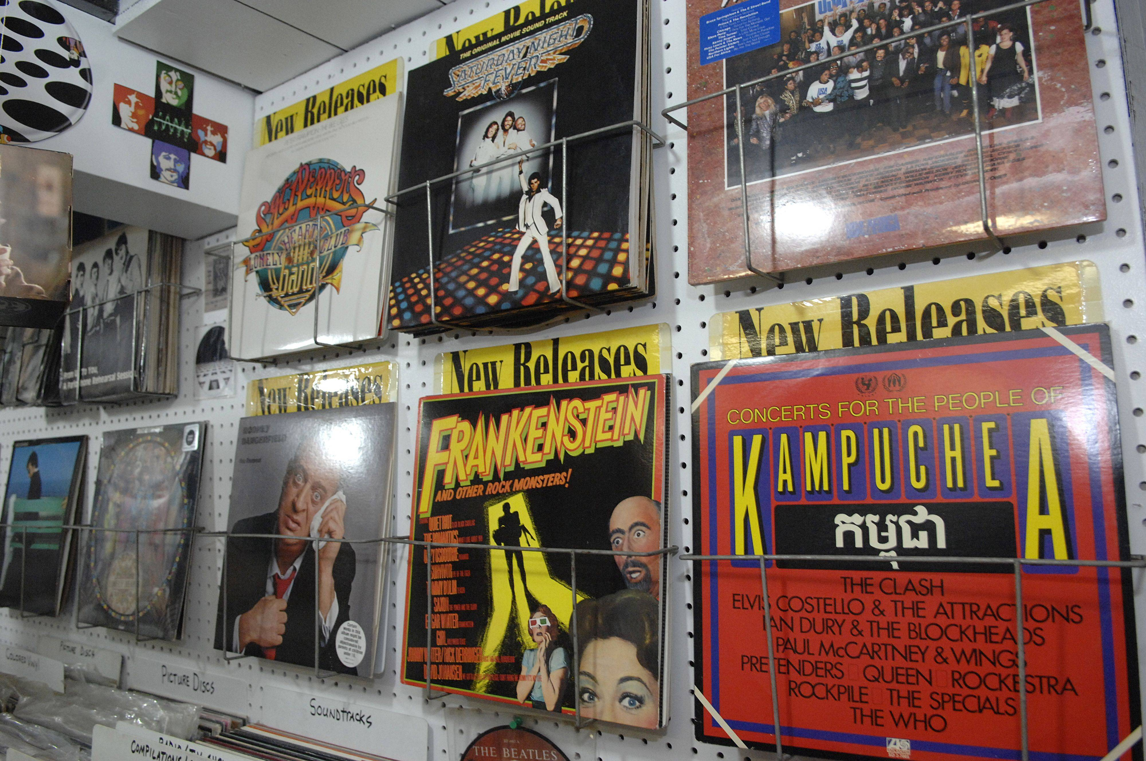 Records hang on display in Thoren's recreated record shop.