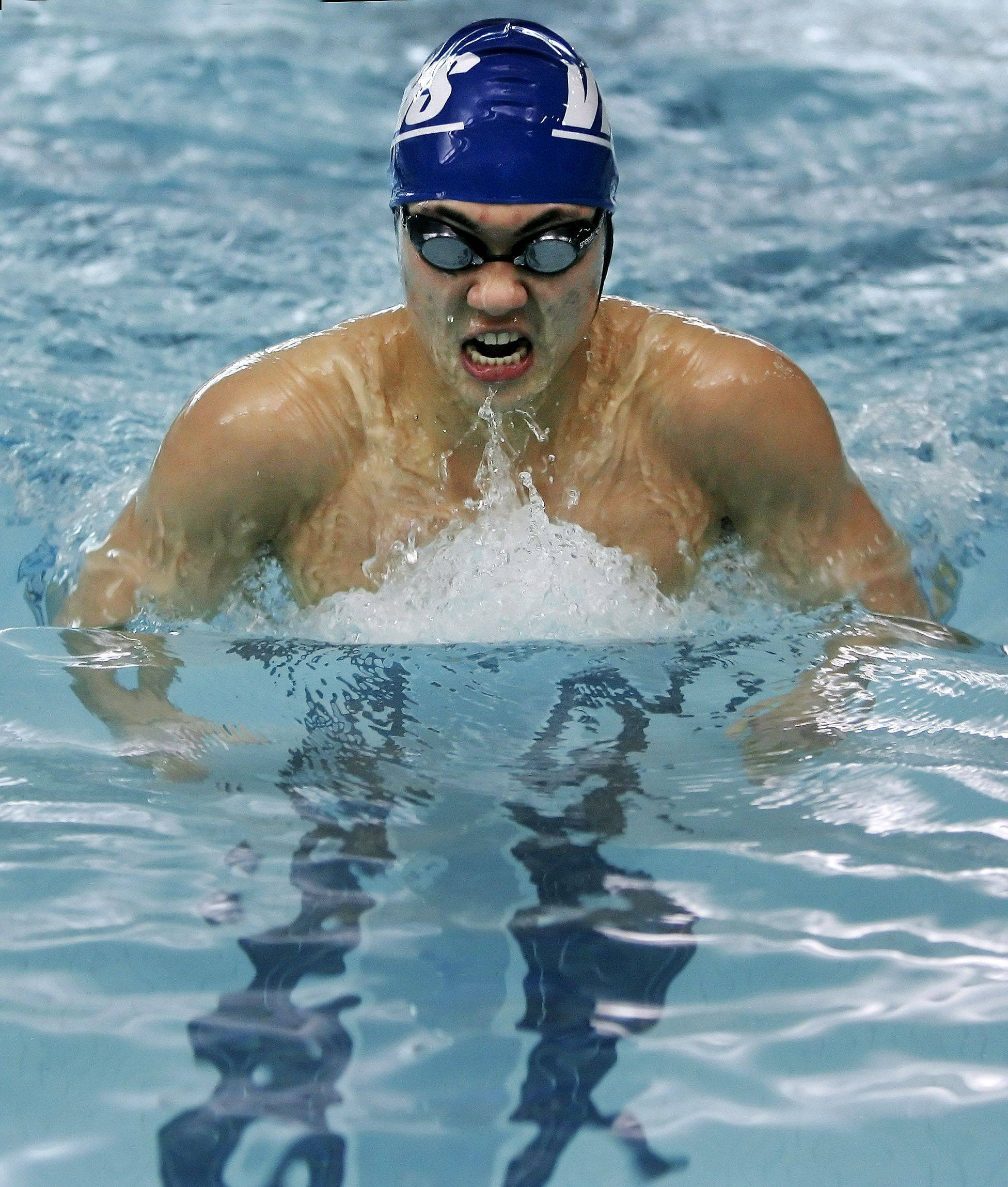 Vernon Hills' Bill Lee competes in the 200-yard individual medley Thursday in Mundelein.