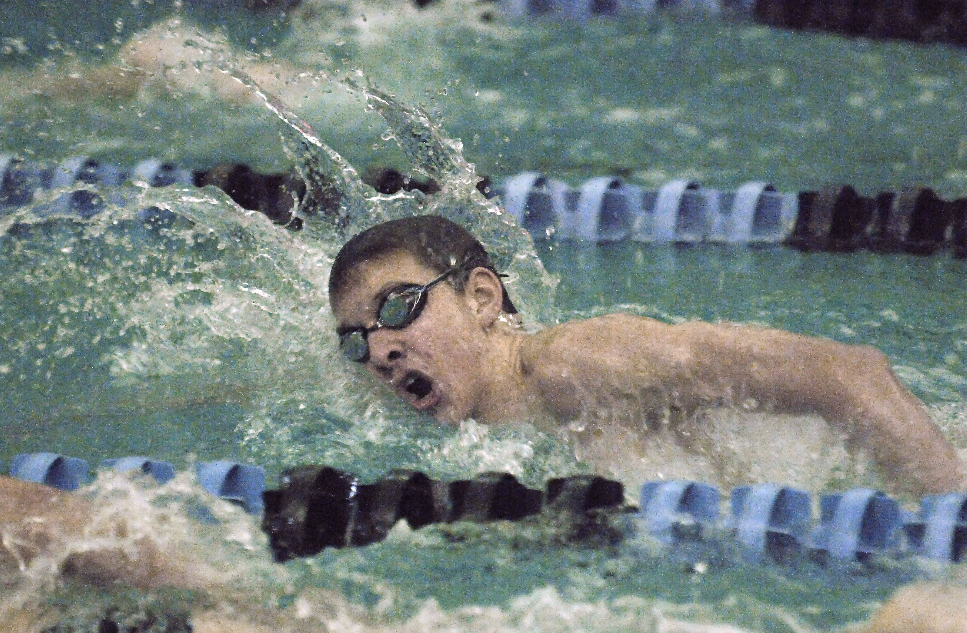 St. Charles North's Kyle Gannon in the 500-yard freestyle Tuesday.