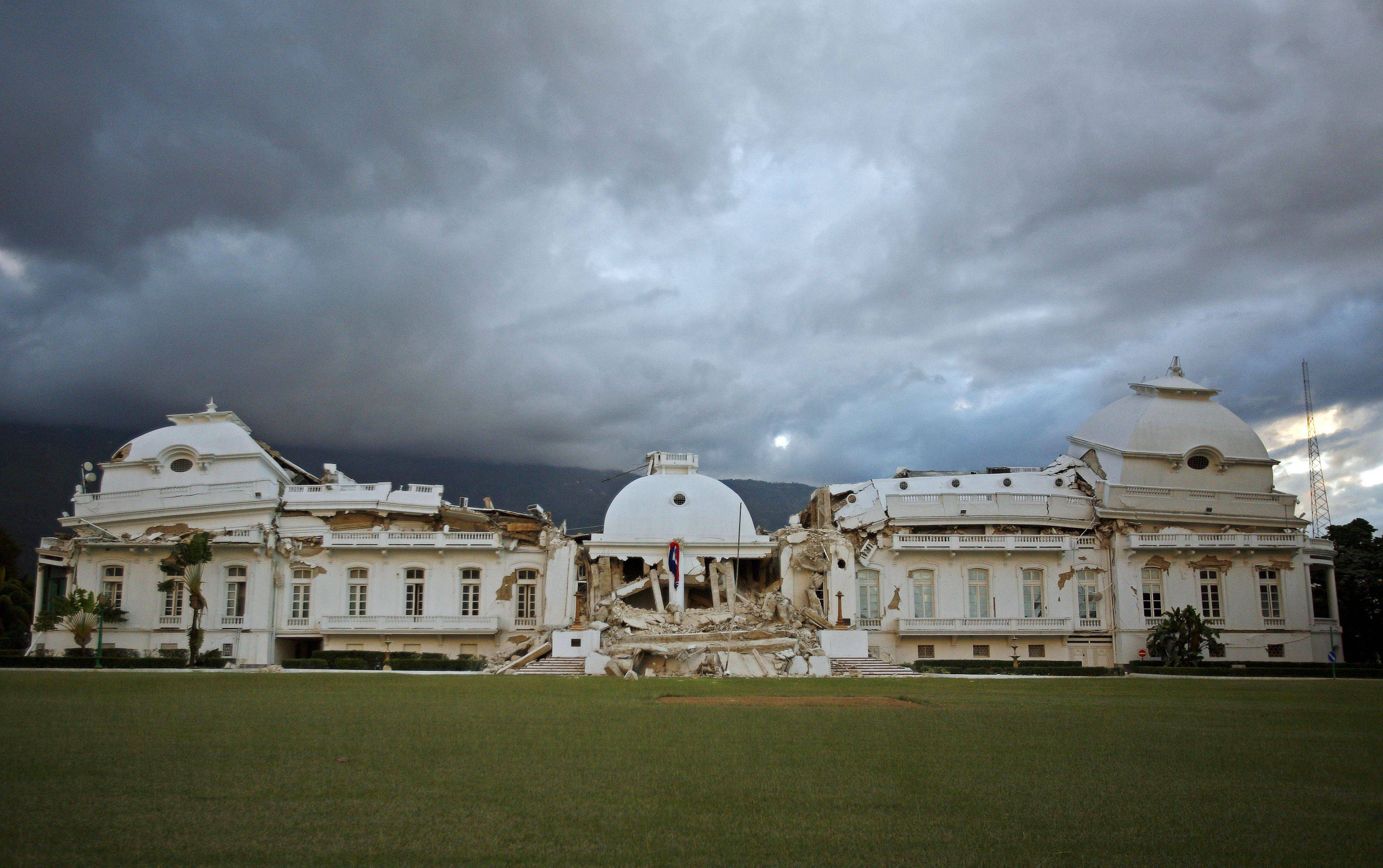 Haiti's National Palace is seen after in Port-au-Prince, Wednesday, Jan. 13, 2010, the day after a powerful earthquake hit the country.