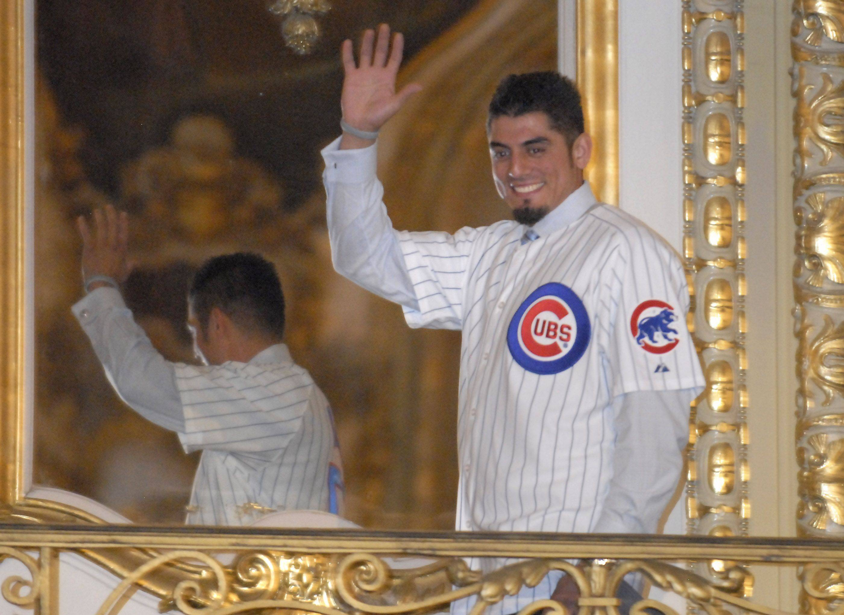 Pitcher Matt Garza gives a big smile to the crowd.
