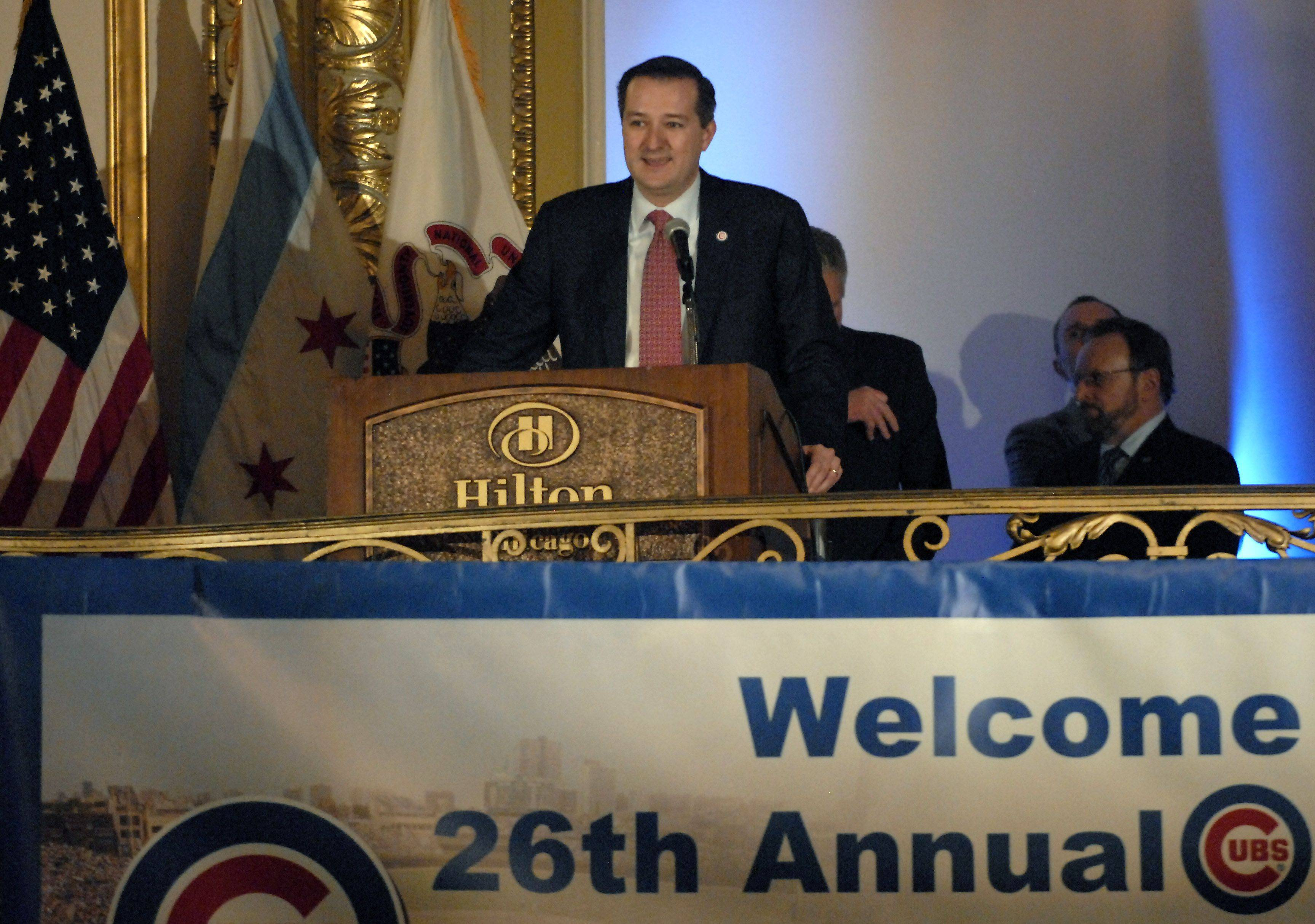 Chairman Tom Ricketts addresses the fans during the first day of the Cubs convention Friday at the Hilton in Chicago.