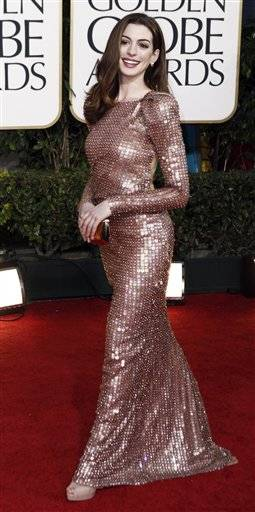 Anne Hathaway arrives for the Golden Globe Awards Sunday.