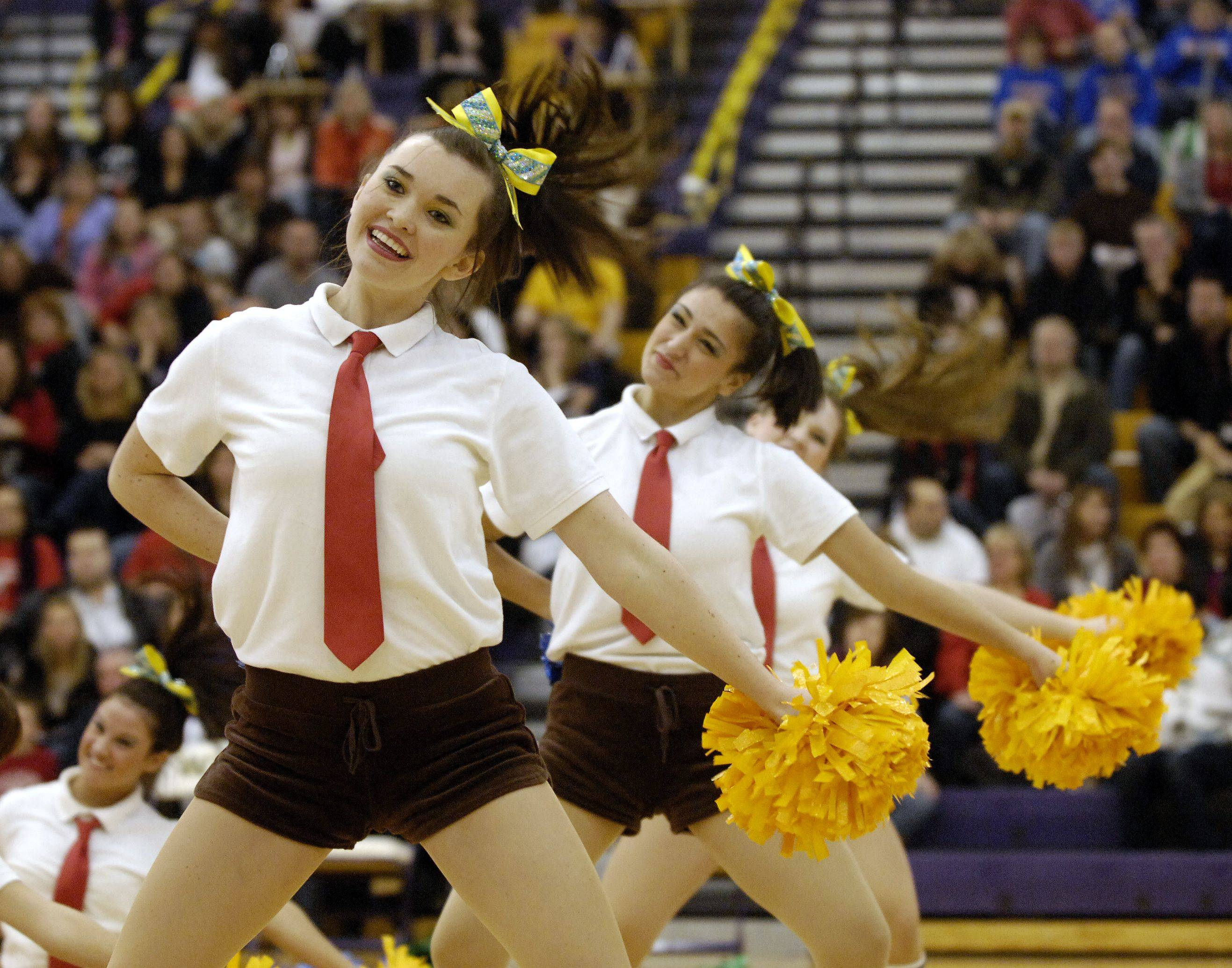 Conant High School performs in the JV Poms division during the Team Dance Illinois Wauconda Invitational competition at Wauconda High School.