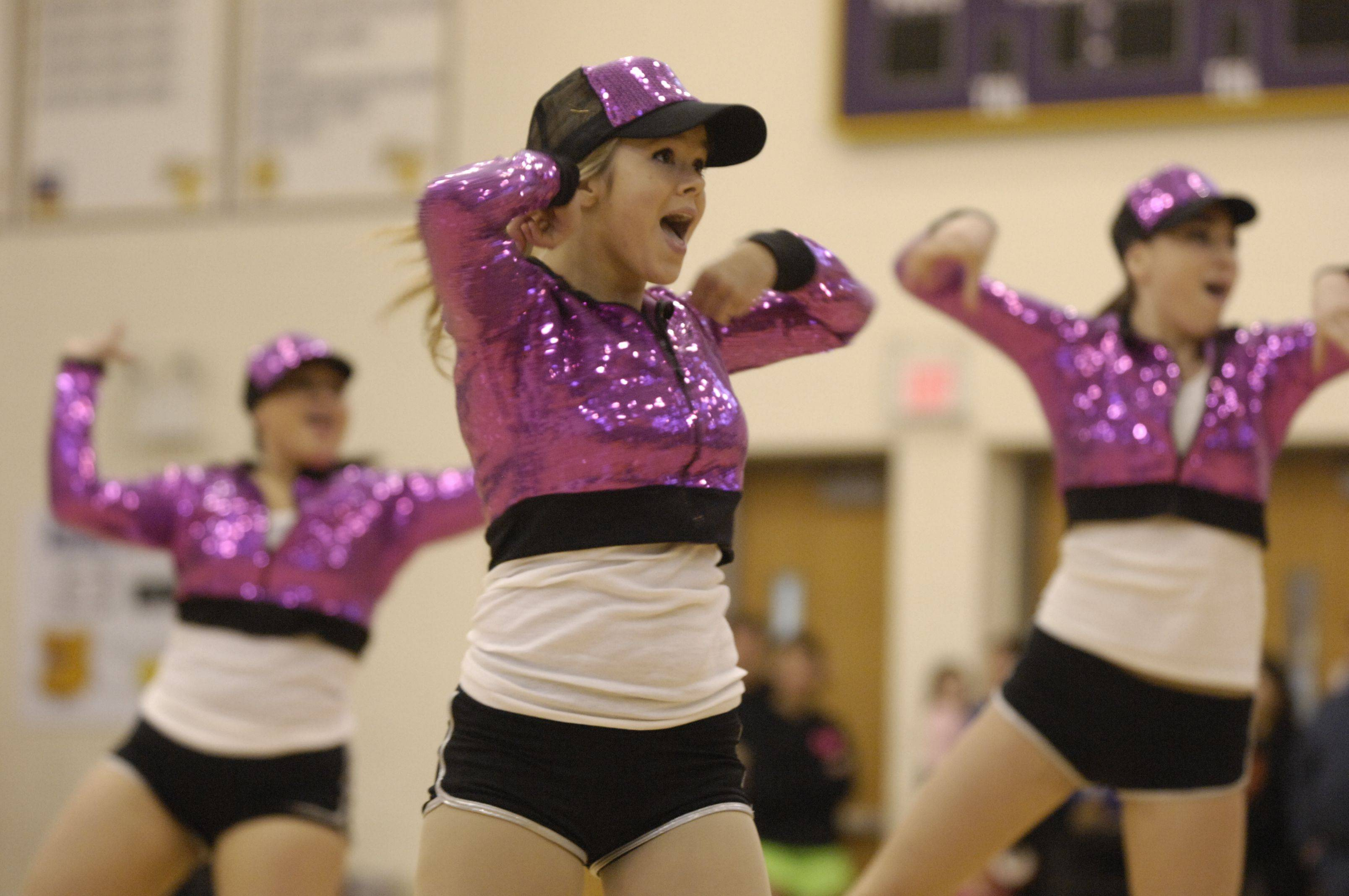 Grayslake Central High School performs in the JV Hip Hop division during the Team Dance Illinois Wauconda Invitational competition at Wauconda High School.
