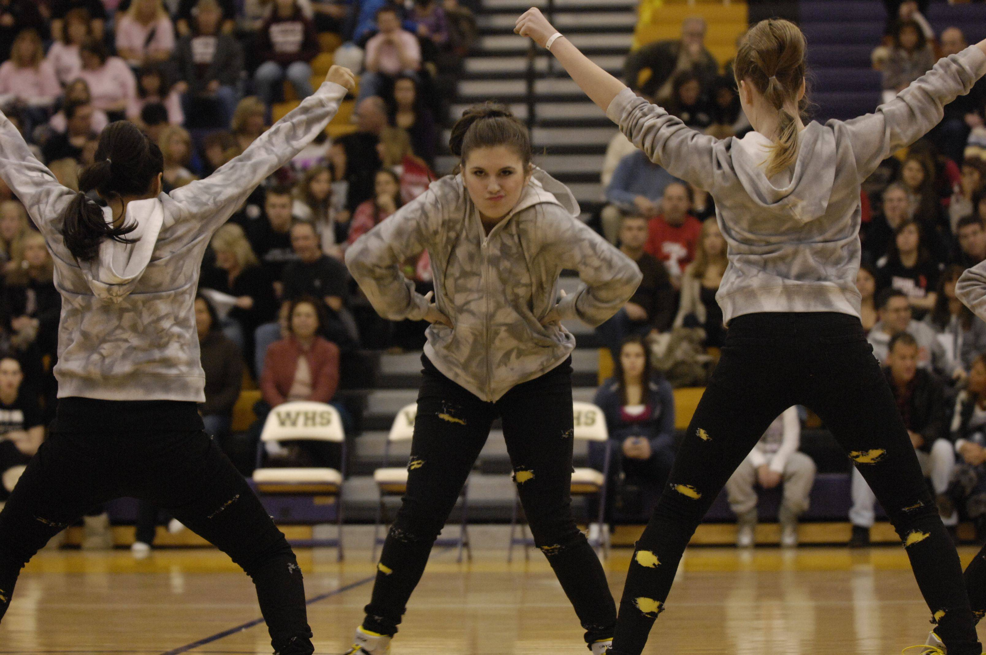 Mundelein High School performs in the AAA Hip Hop division during the Team Dance Illinois Wauconda Invitational competition at Wauconda High School.