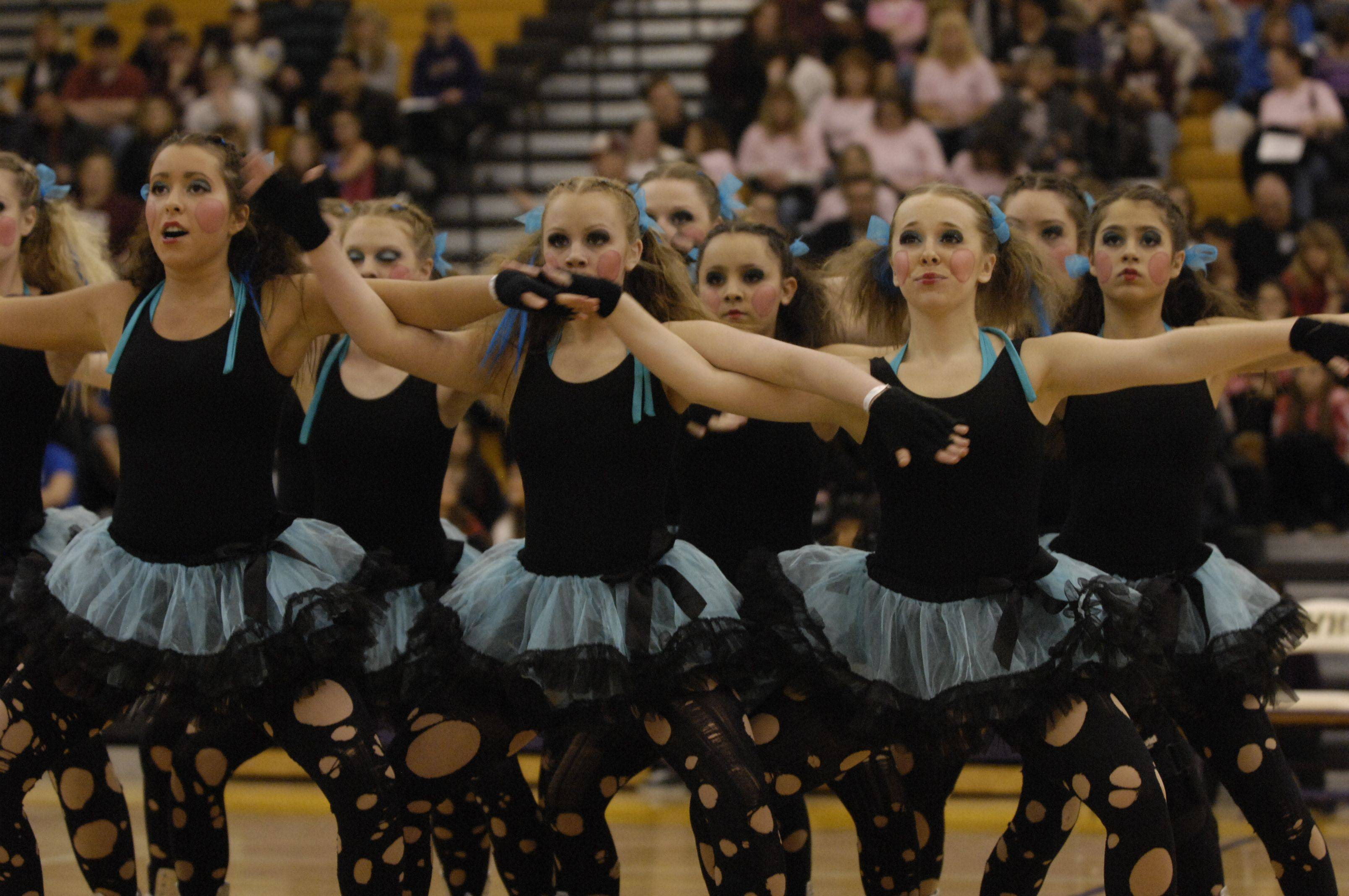 Maine West High School performs in the AAA Hip Hop division during the Team Dance Illinois Wauconda Invitational competition at Wauconda High School.