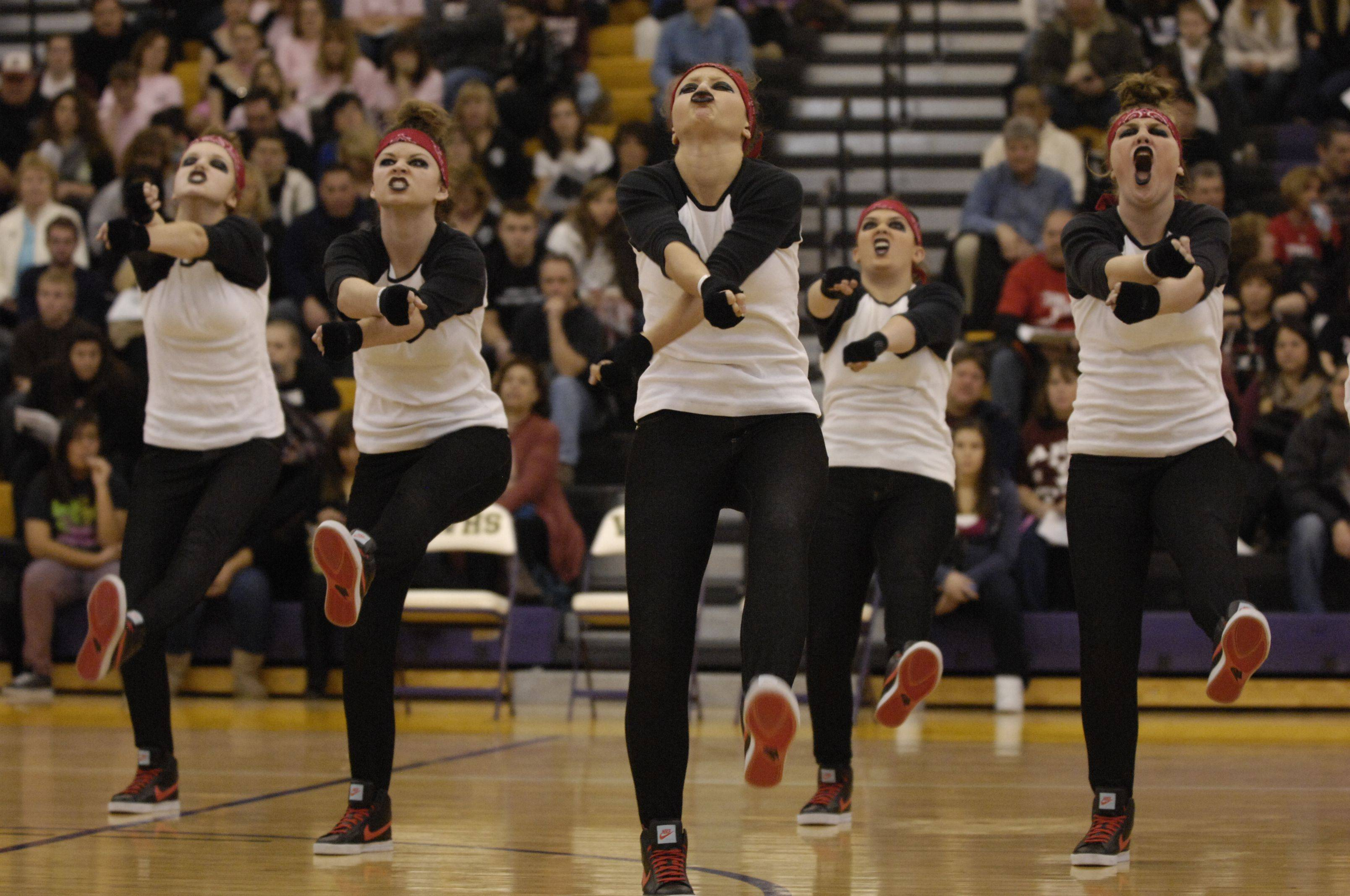 Warren Township High School performs in the AAA Hip Hop division during the Team Dance Illinois Wauconda Invitational competition at Wauconda High School.