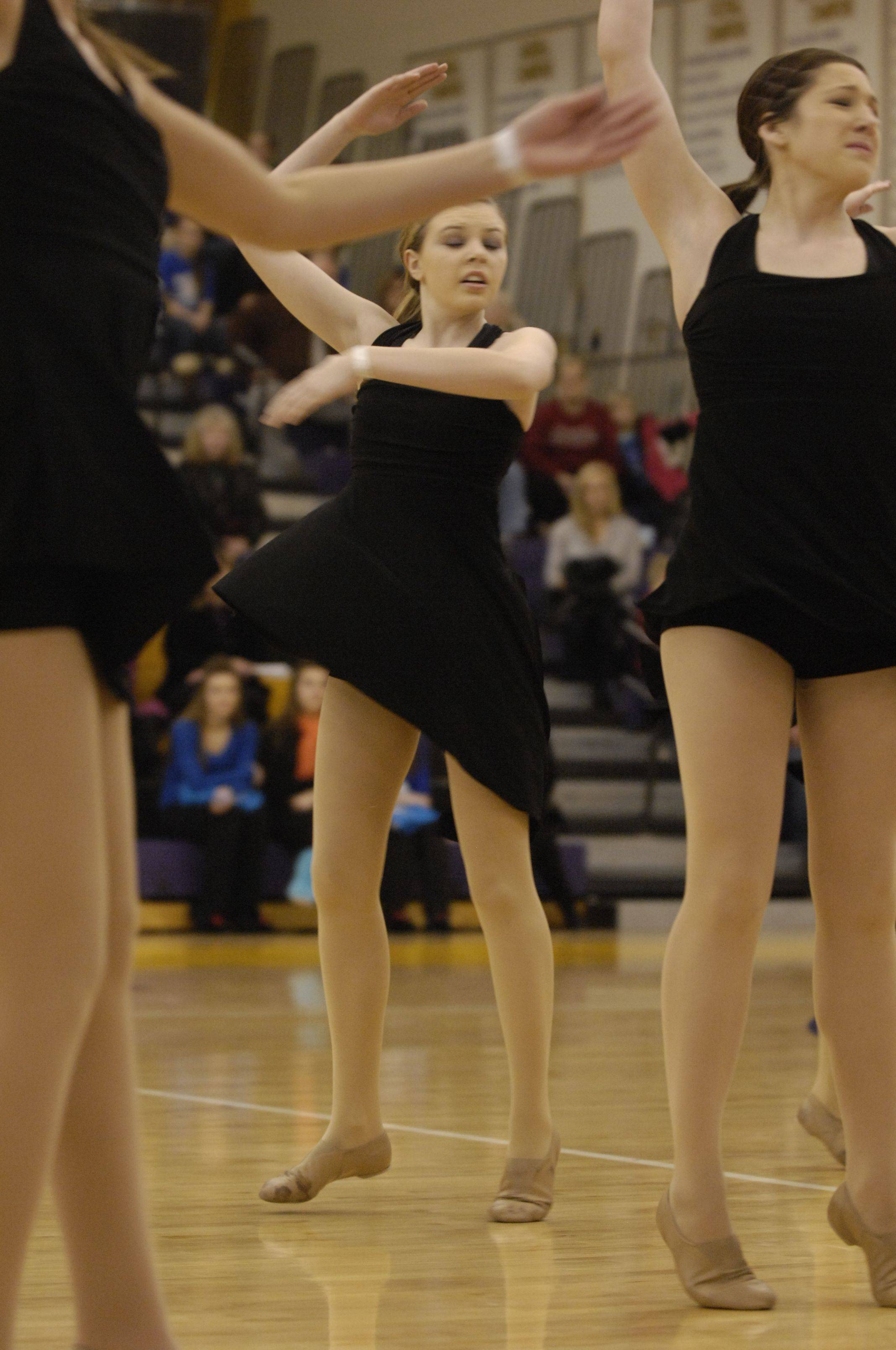 St. Charles East High School performs in the JV Lyrical division during the Team Dance Illinois Wauconda Invitational competition at Wauconda High School.