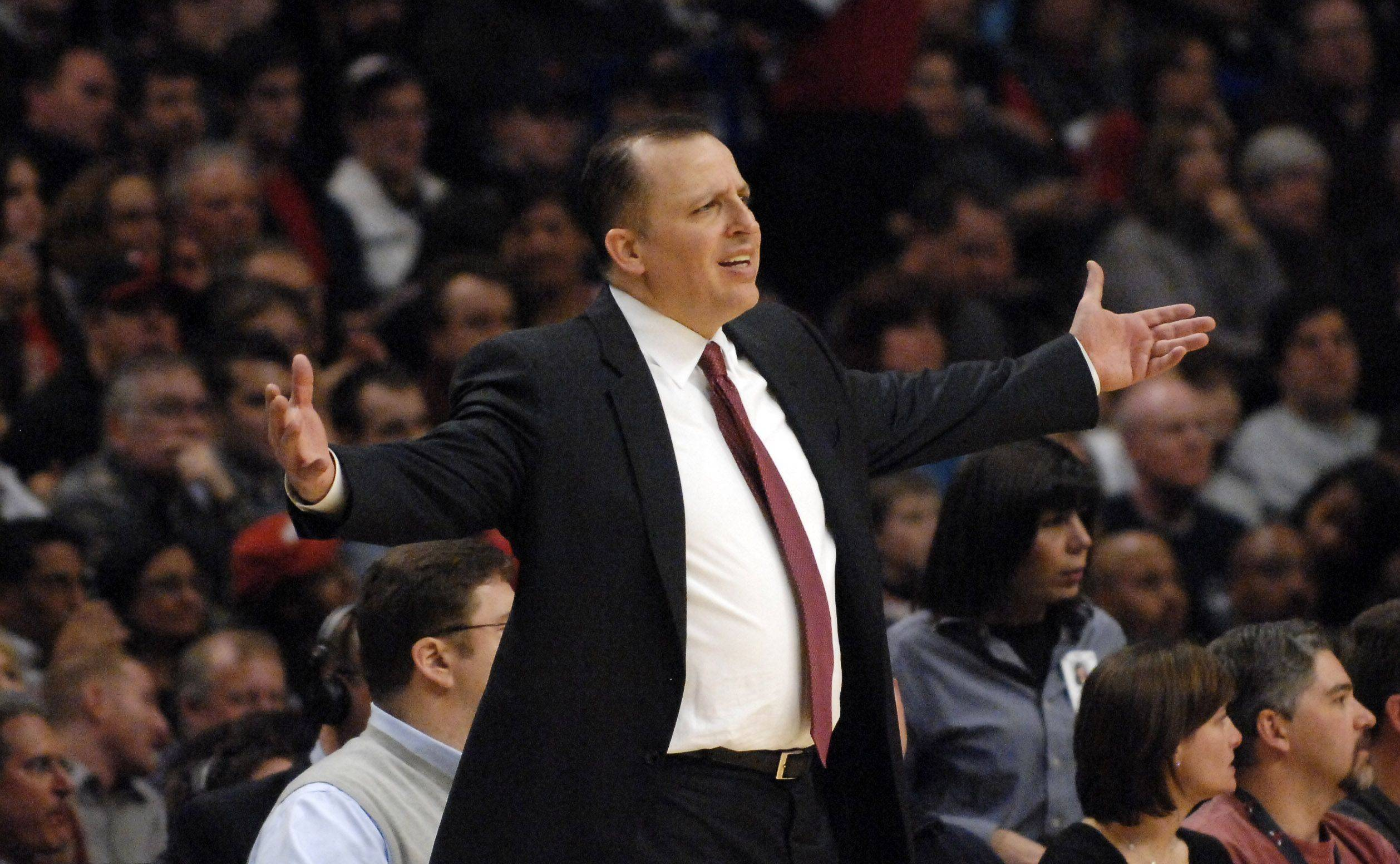Chicago Bulls head coach Tom Thibodeau during Saturday's game at the United Center in Chicago.
