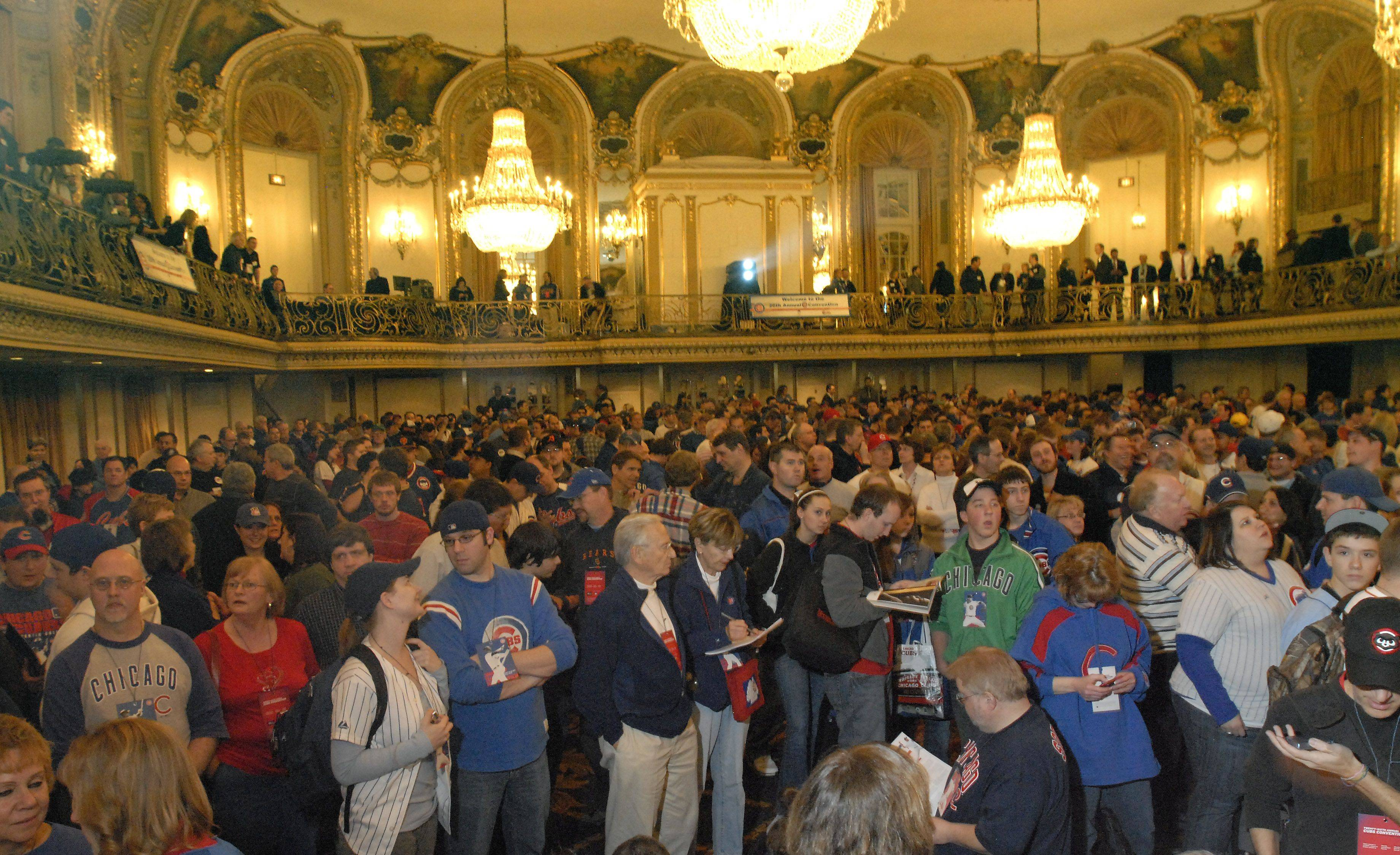 Fans fill the grand ballroom Friday at the Hilton during the first day of the Cubs convention in Chicago.