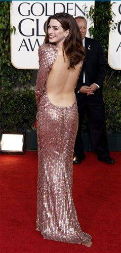 Anne Hathaway was one of the best dressed at the Golden Globes Sunday.