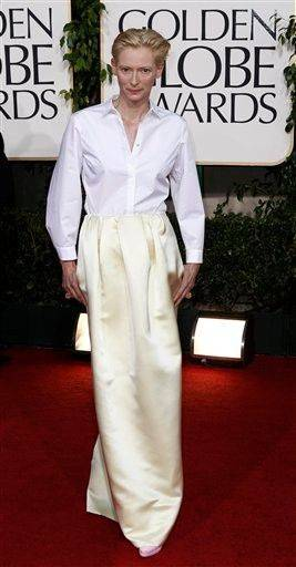 Tilda Swinton, always stuns with her bad fashion sense.