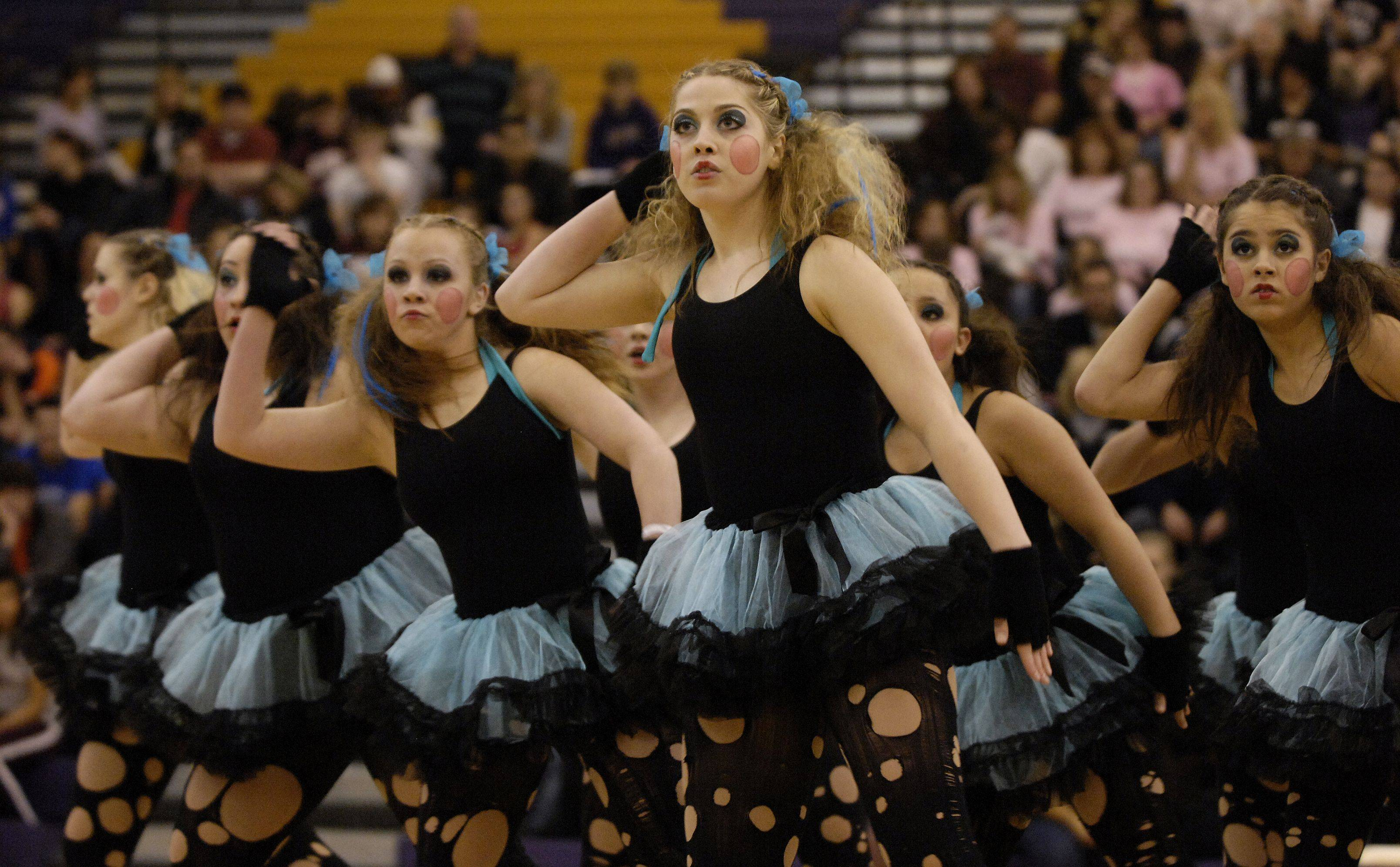 Maine West High School performs Sunday in the AAA Hip Hop division during the Team Dance Illinois Wauconda Invitational competition at Wauconda High School.