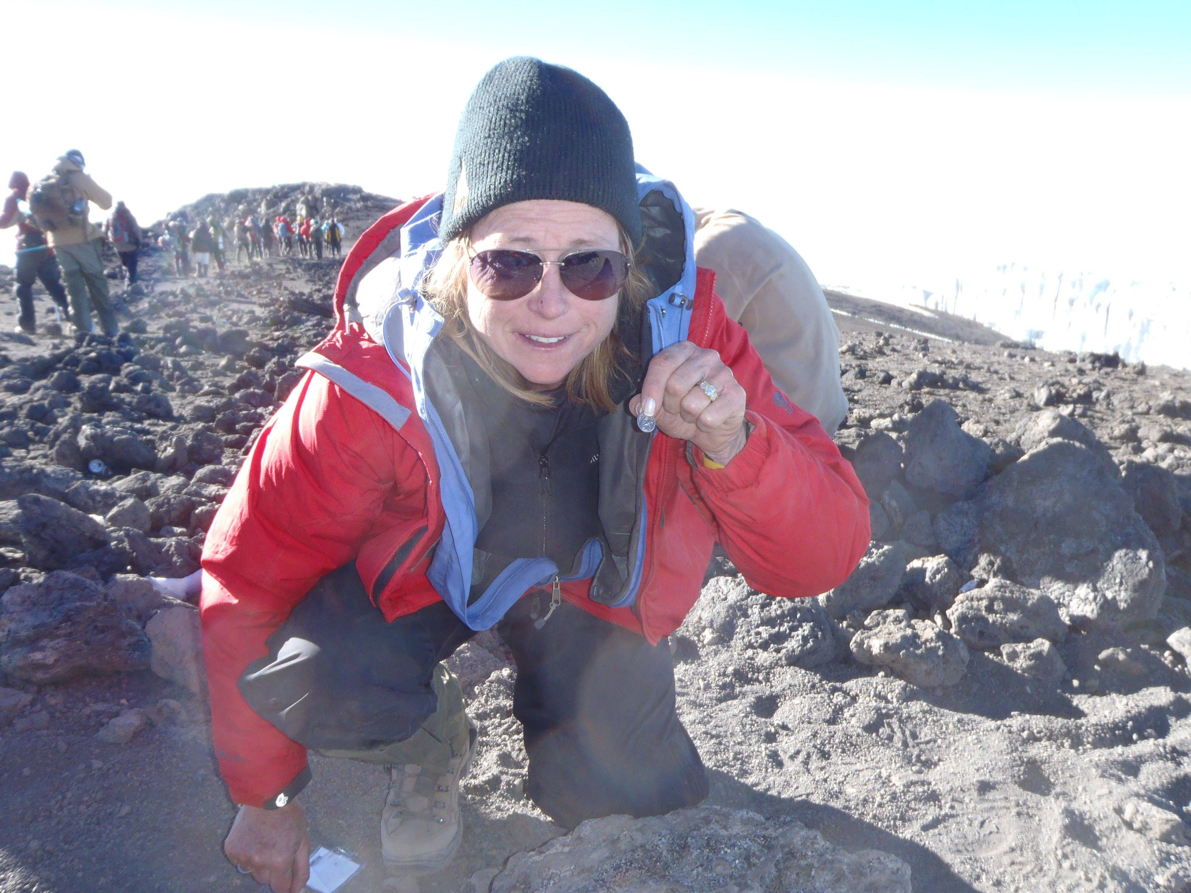 When she reached the summit of Mount Kilimanjaro, Teri Goudie placed a medal of St. Teresa of Avila.