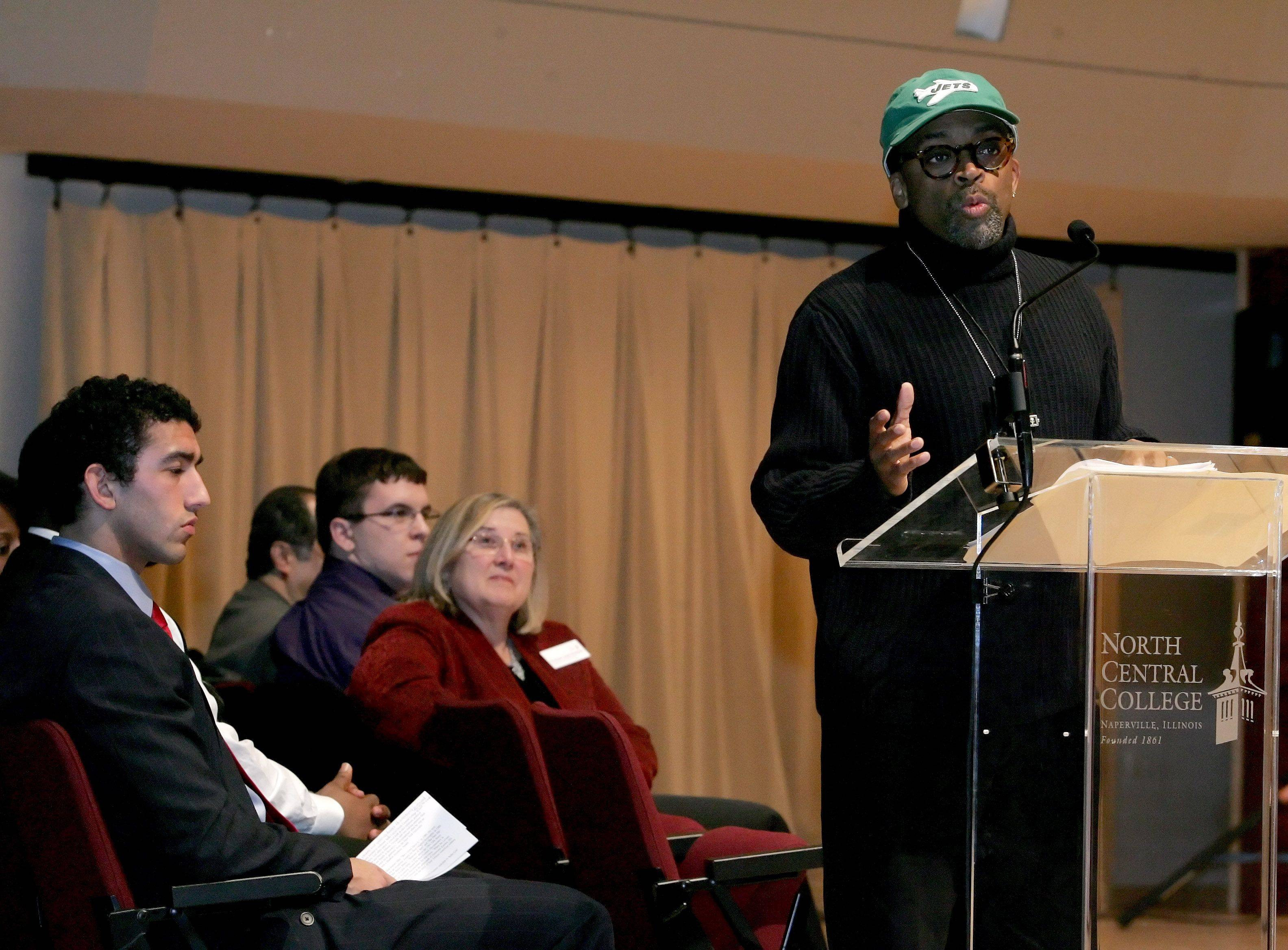 """Why do black youth ridicule each other? If you speak correctly and get straight A's, you're a white girl, a white boy, a sellout, an Oreo,"" Spike Lee said in Naperville Wednesday night."