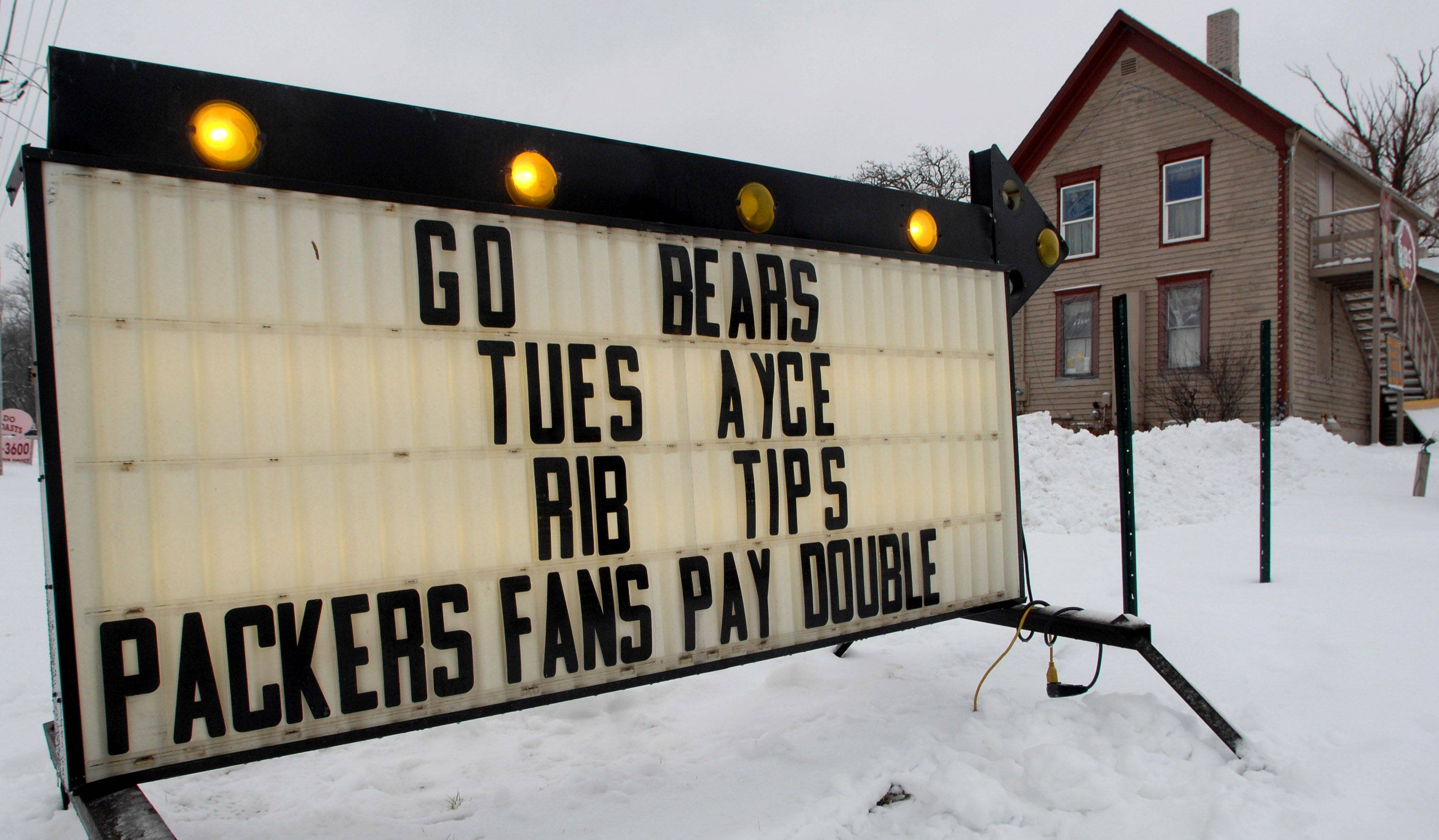 The Crystal Lake Rib House has a sign at its Route 176 restaurant showing support for the Bears.