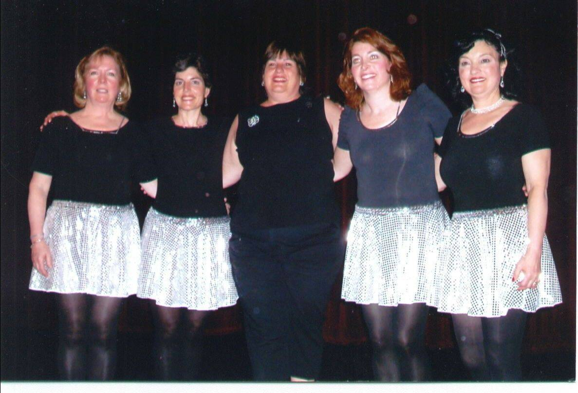 Among the dancers in a Buffalo Grove Park District tap class are, from left, Sally Canham, Stacey Lavy, teacher Franci Galinsky, Faith Becker and Nancy Stieber.