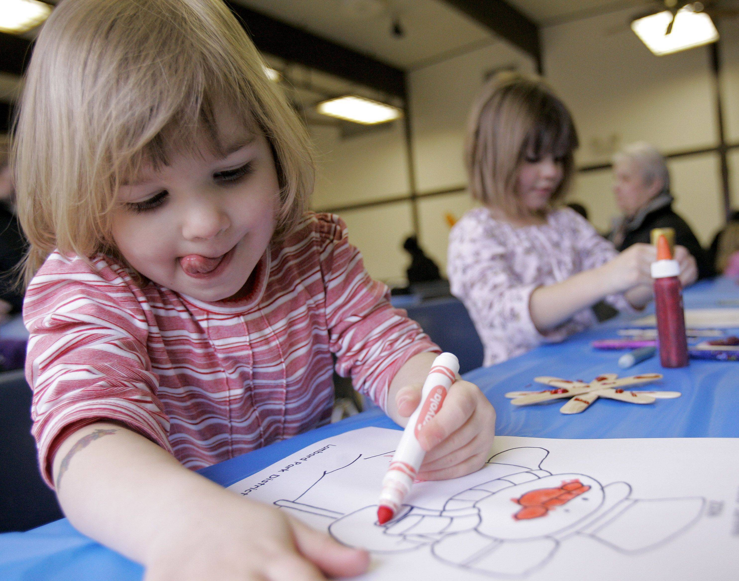 Lombard's Winter Carnival includes indoor fun like coloring and crafts for those who want to warm up during the festival.