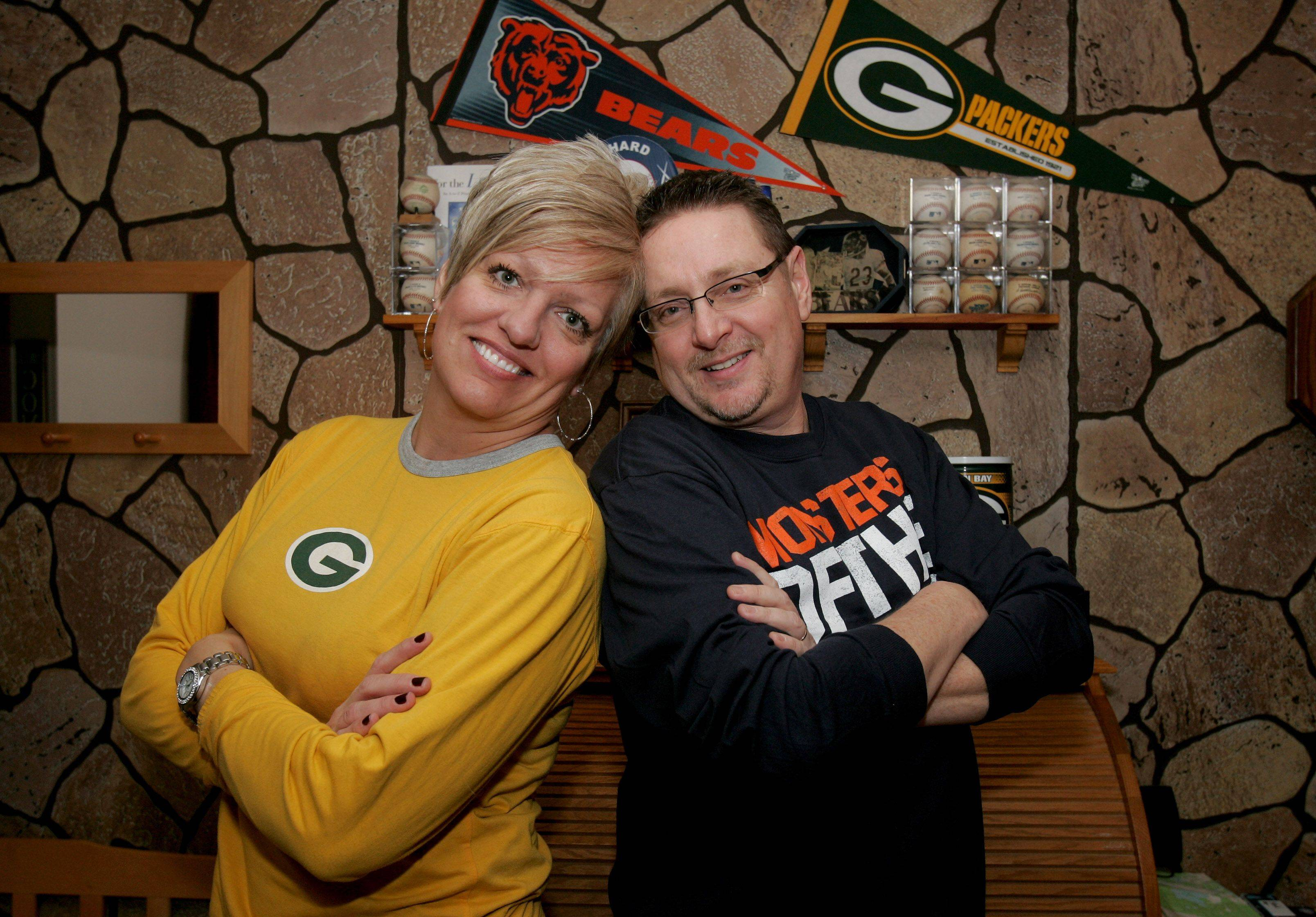Bob and Lisa Bosma of Lombard will be rivals this weekend for the Chicago Bears vs. Green Bay Packers playoff game.