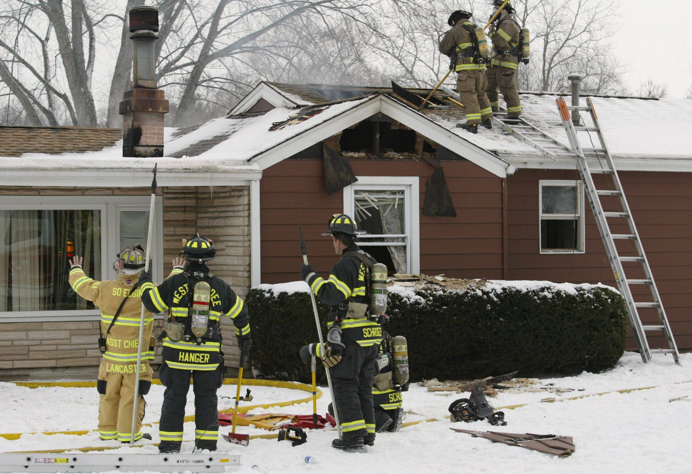 Firefighters from several area departments responded to a fire on Gale Street in Elgin Township Thursday morning. South Elgin, Elgin, Pingree Grove, West Dundee, Bartlett and Elburn collaborated efforts on the scene.