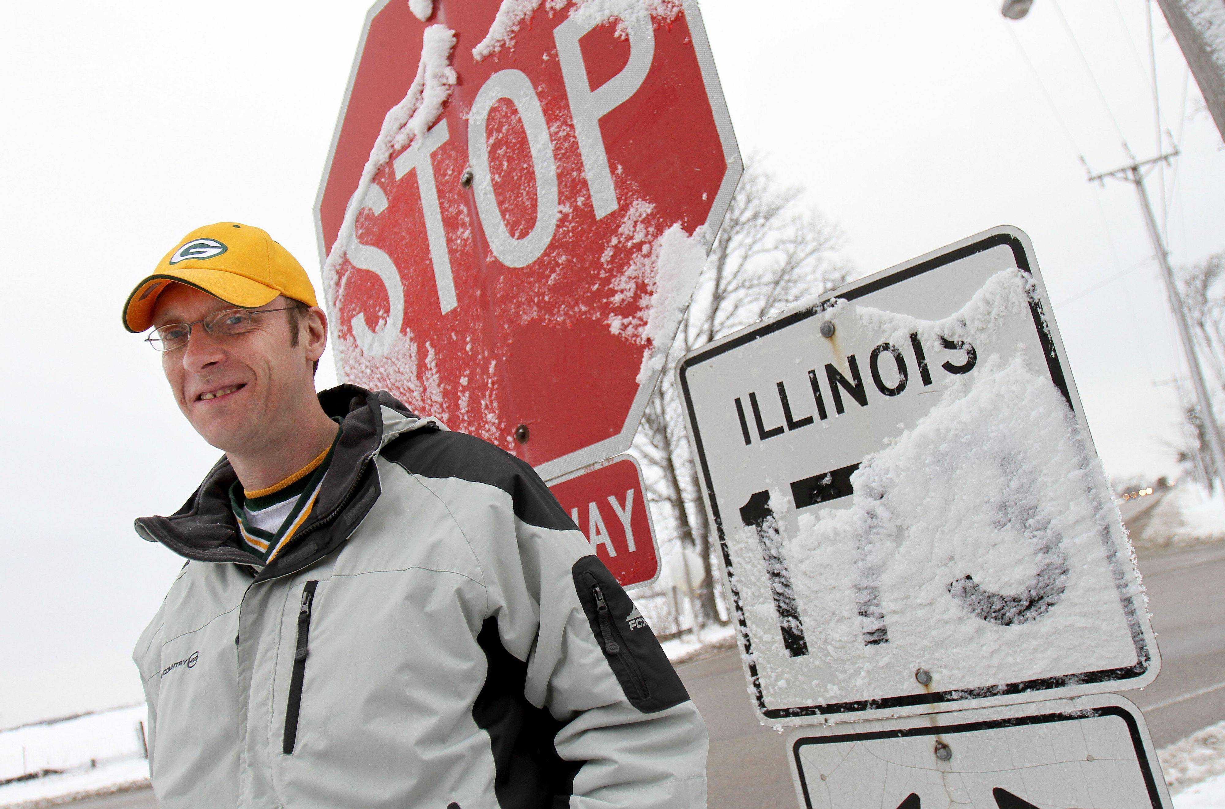 Few understand the Bears-Packers rivalry like John Cochara of Spring Grove. As a former bar manager for KC's Cabin in the town near the Wisconsin border, Cochara was duct-taped to a stop sign, above right, after the Packers beat the Bears 15 years ago.
