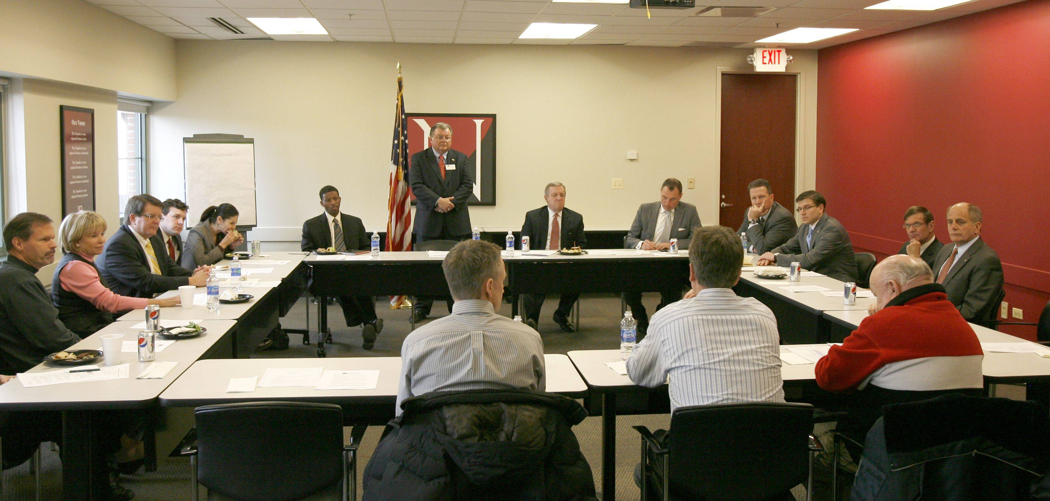 Sen. Dick Durbin met with members of the Naperville Area Chamber of Commerce Thursday to discuss policy issues and concerns of the business community.