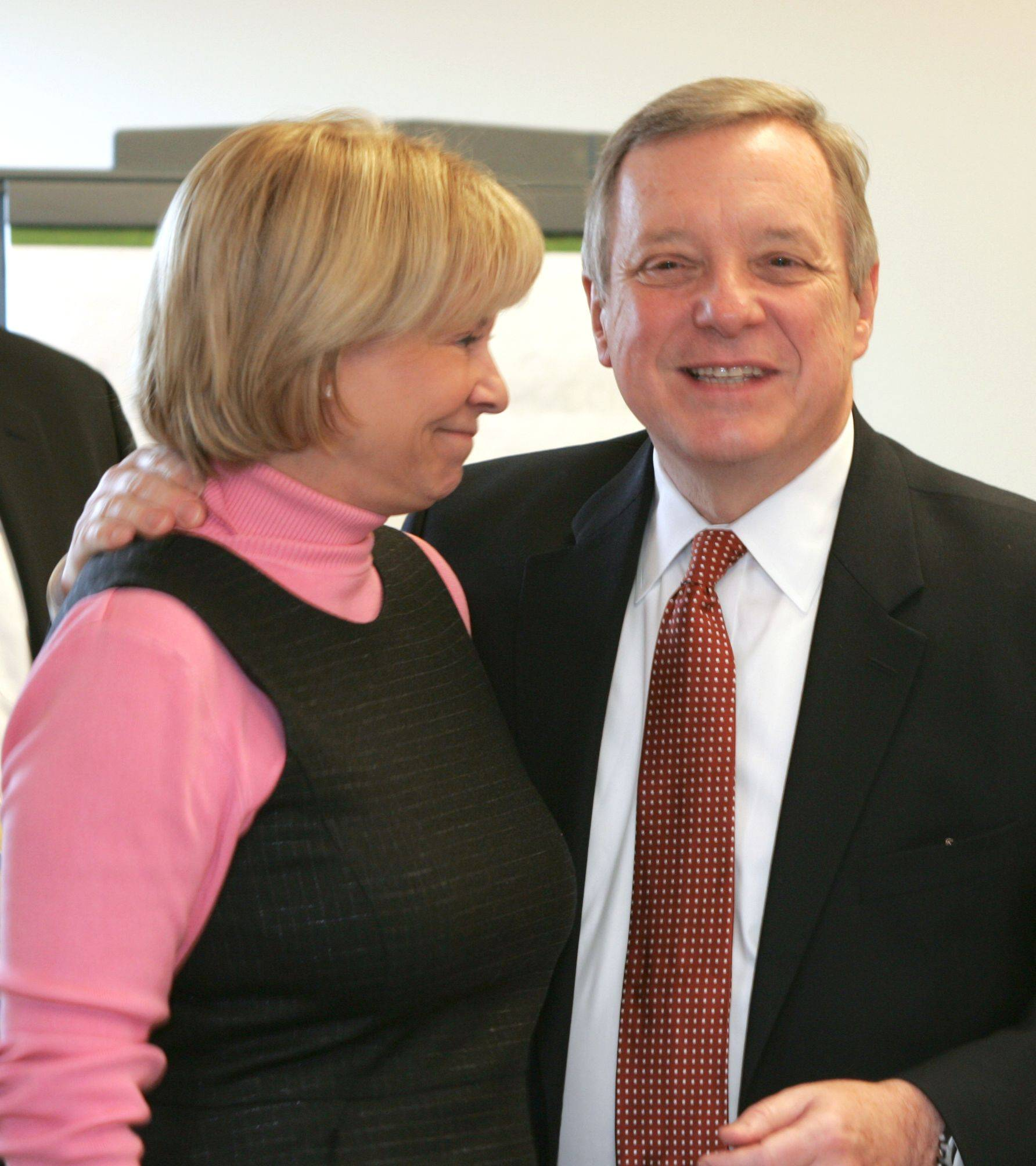 Pam Davis, president and CEO of Edward Hospital, was one of several area business leaders to meet with Sen. Dick Durbin Thursday in Naperville.