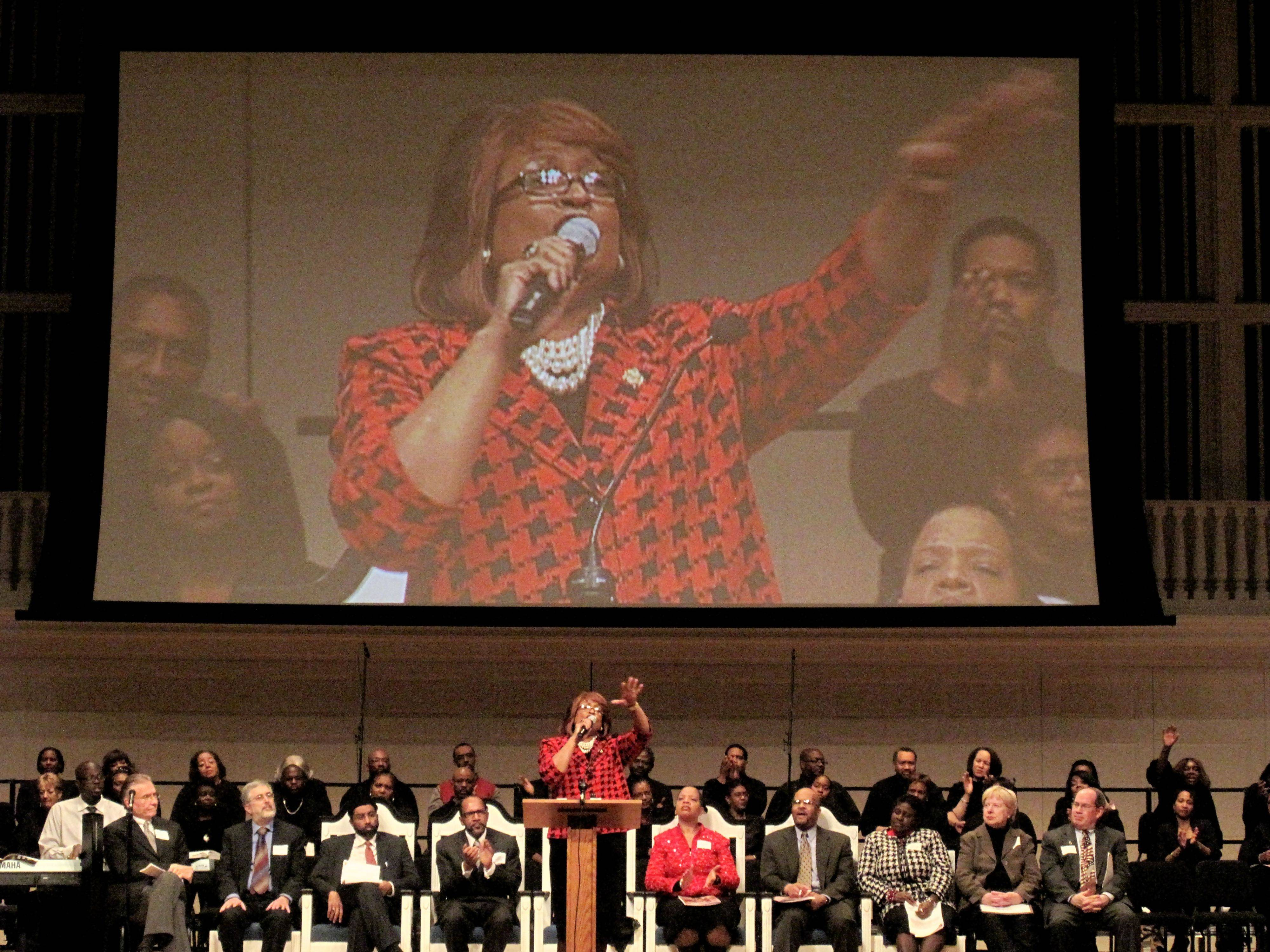 African Methodist Episcopal Church's first female bishop, Vashti Murphy McKenzie, speaks to the crowd during DuPage County's 21st celebration of Dr. Martin Luther King Jr. Day at Edman Memorial Chapel in Wheaton. McKenzie's message promoted unity and continuing Dr. King's dream.