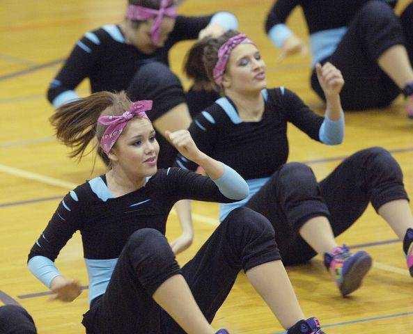 during Saturday's Illinois Drill Team Association regional at Rolling Meadows High School.