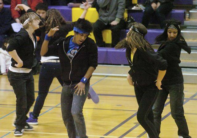 The Waubonsie Valley High School Hip Hop team performs during Saturday's Illinois Drill Team Association regional at Rolling Meadows High School.