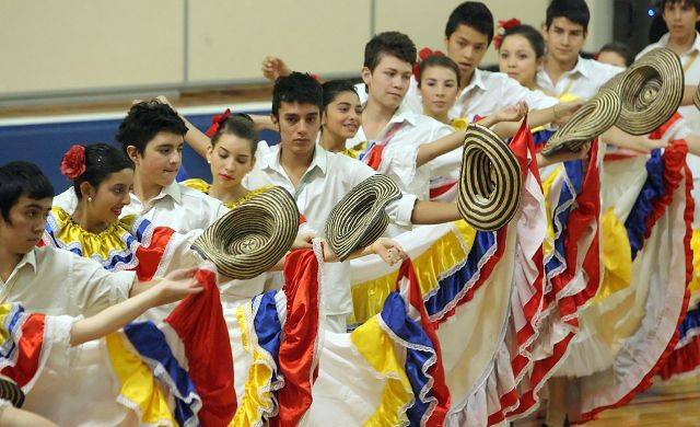 Colombian exchange students, as part of a week-long project in conjunction with Stevenson High School, presented a music and dance program for Hawthorn Middle School North Thursday in Vernon Hills.