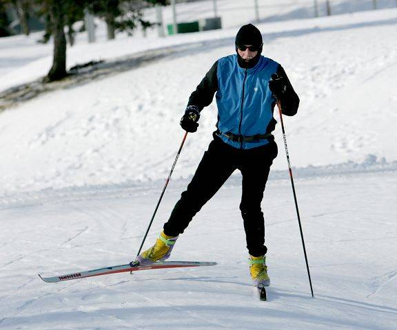 "Joe Mavec of Glen Ellyn keeps warm in Friday's cold temperatures by cross county skiing in Glen Ellyn's Newton Park. ""I'm trying to get some exercise and train for some ski races that are coming up soon"", said Mavec."
